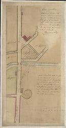 Kaart met plattegrond van de Meensestraat, de Meensesteenweg, de Meensepoort en aanpalende straten en grachten te Kortrijk, 1825