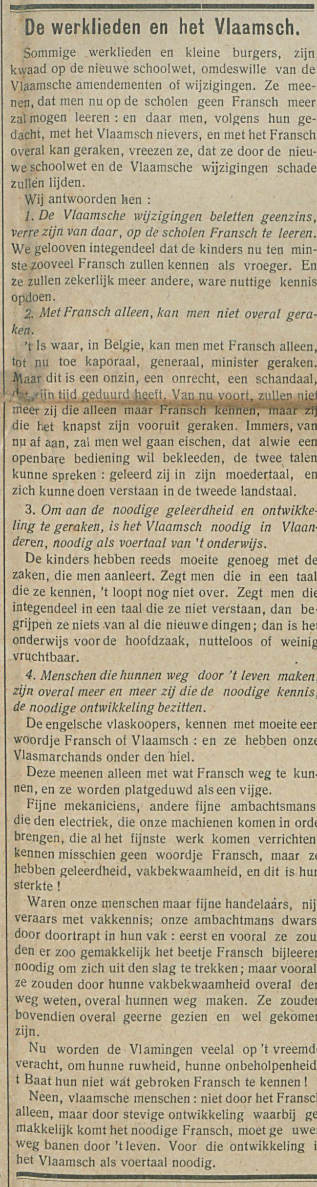 De werklieden en het Vlaamsch