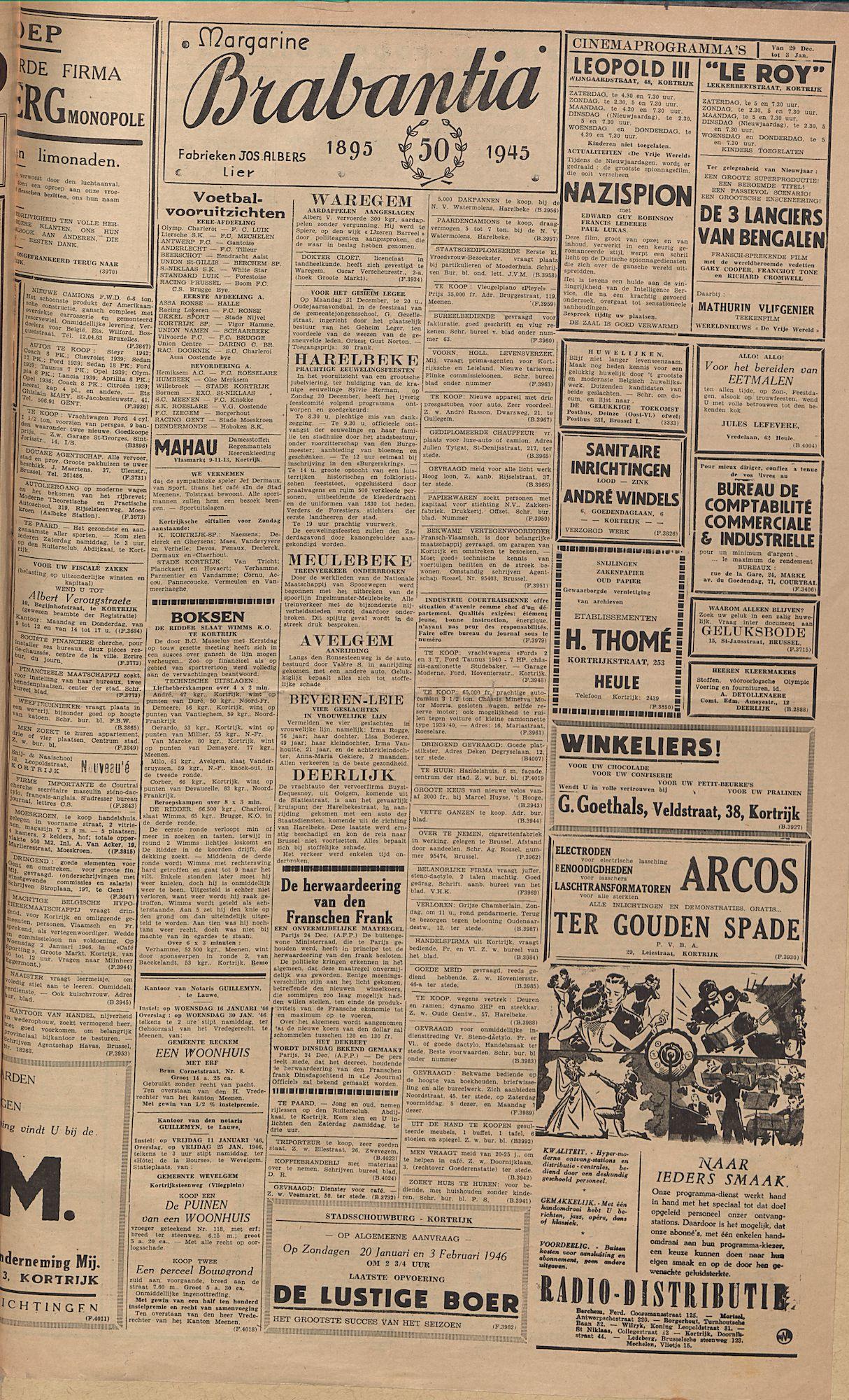 Kortrijksch Handelsblad 28 december 1945 Nr104 p3