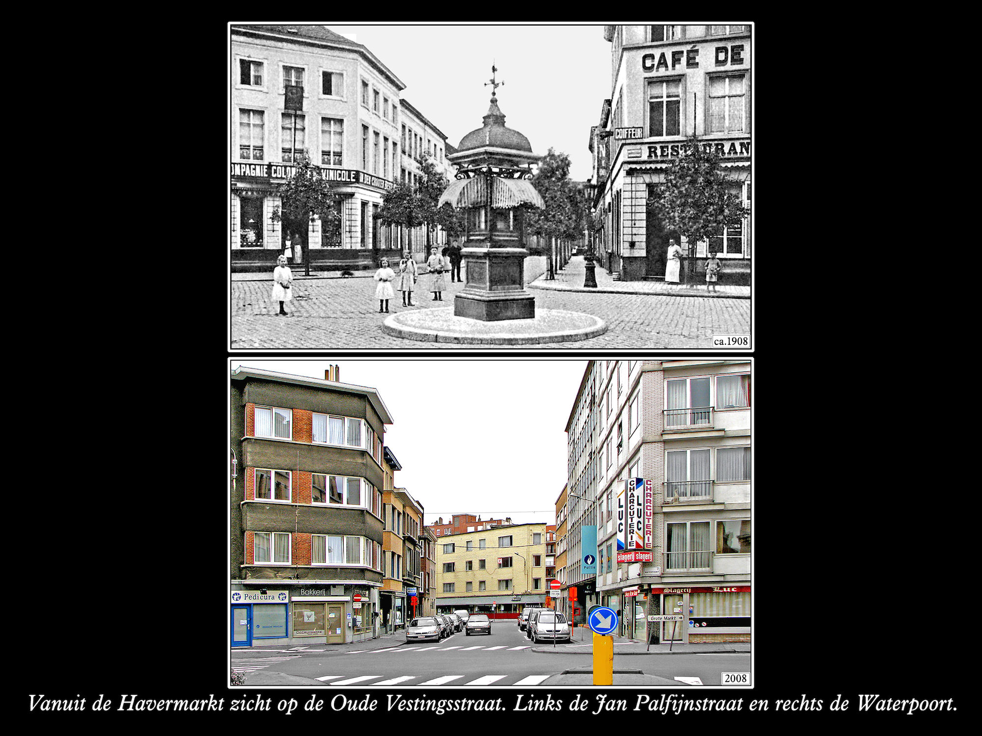 Waterpoort - Oude Vestingsstraat 1908 en 2008