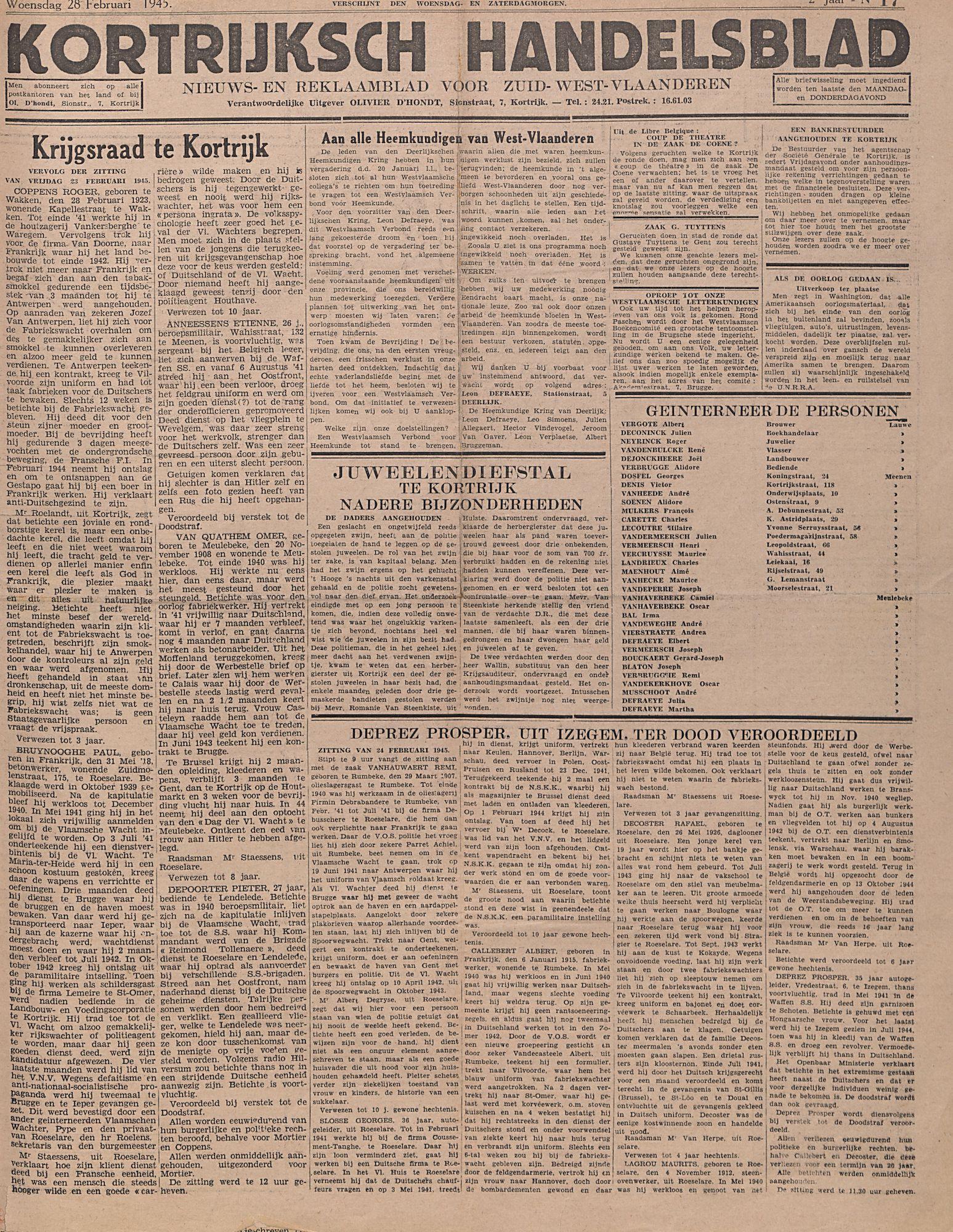 Kortrijksch Handelsblad 28 februari 1945 Nr17 p1