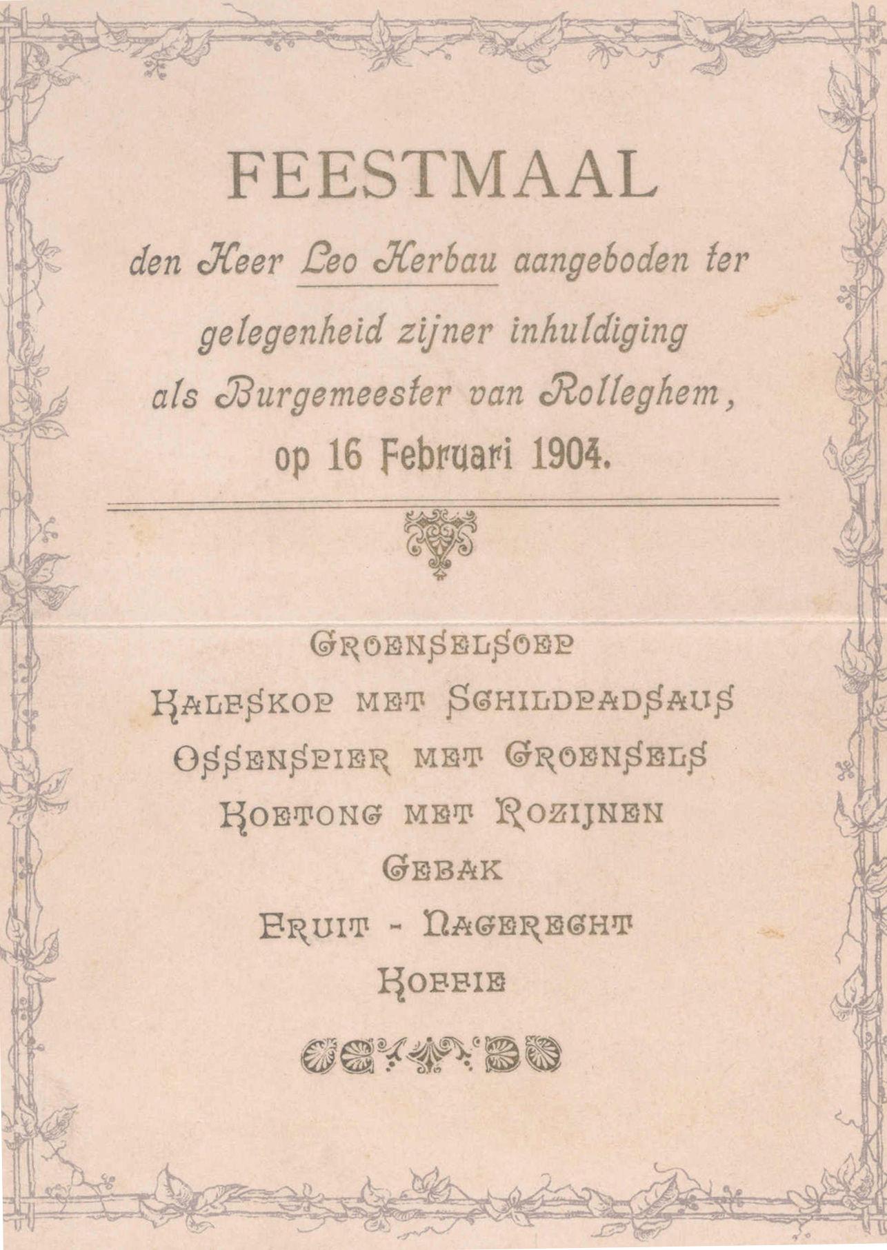 Leo Herbau burgemeester van Rollegem 1904