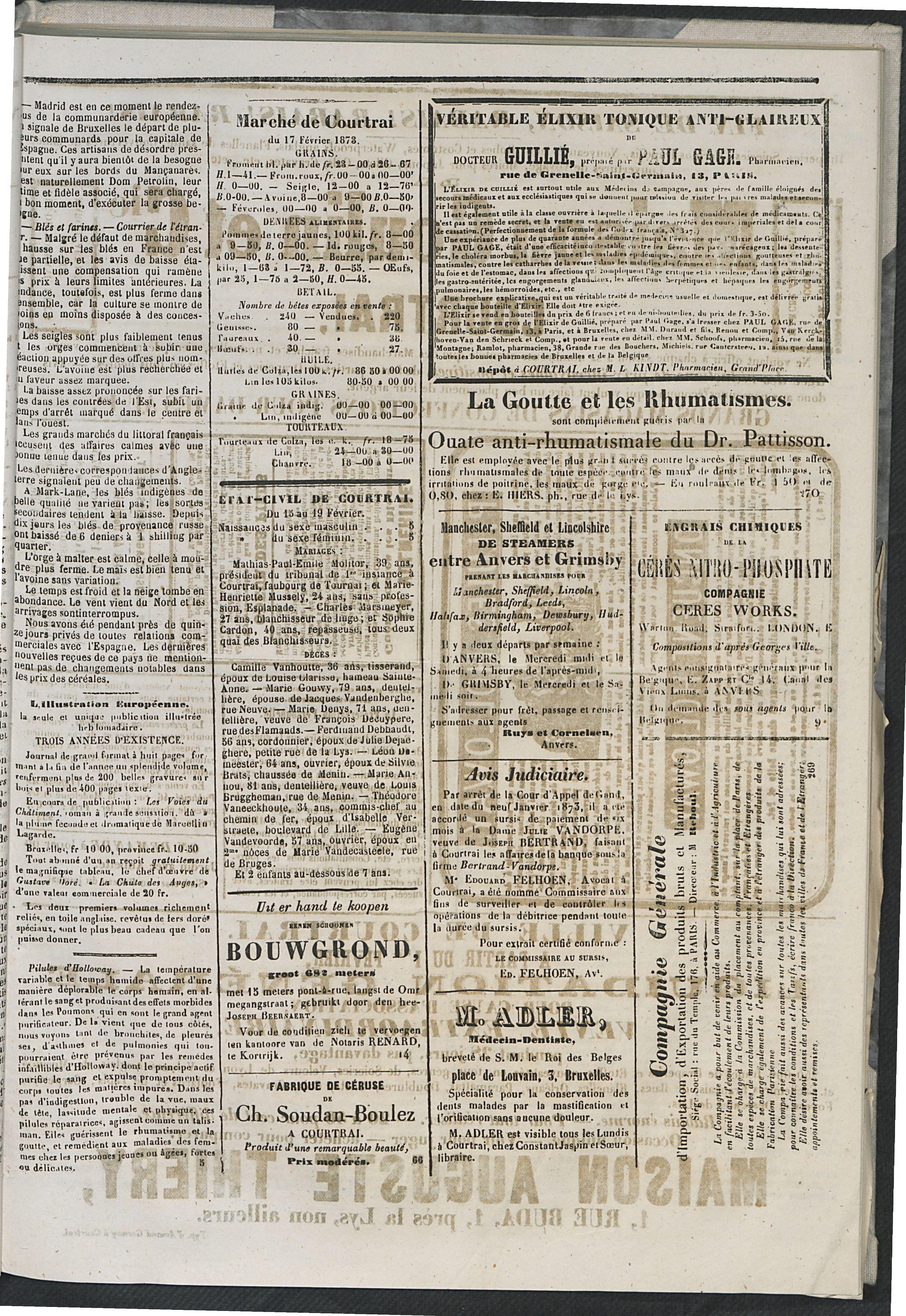 L'echo De Courtrai 1873-02-20 p3