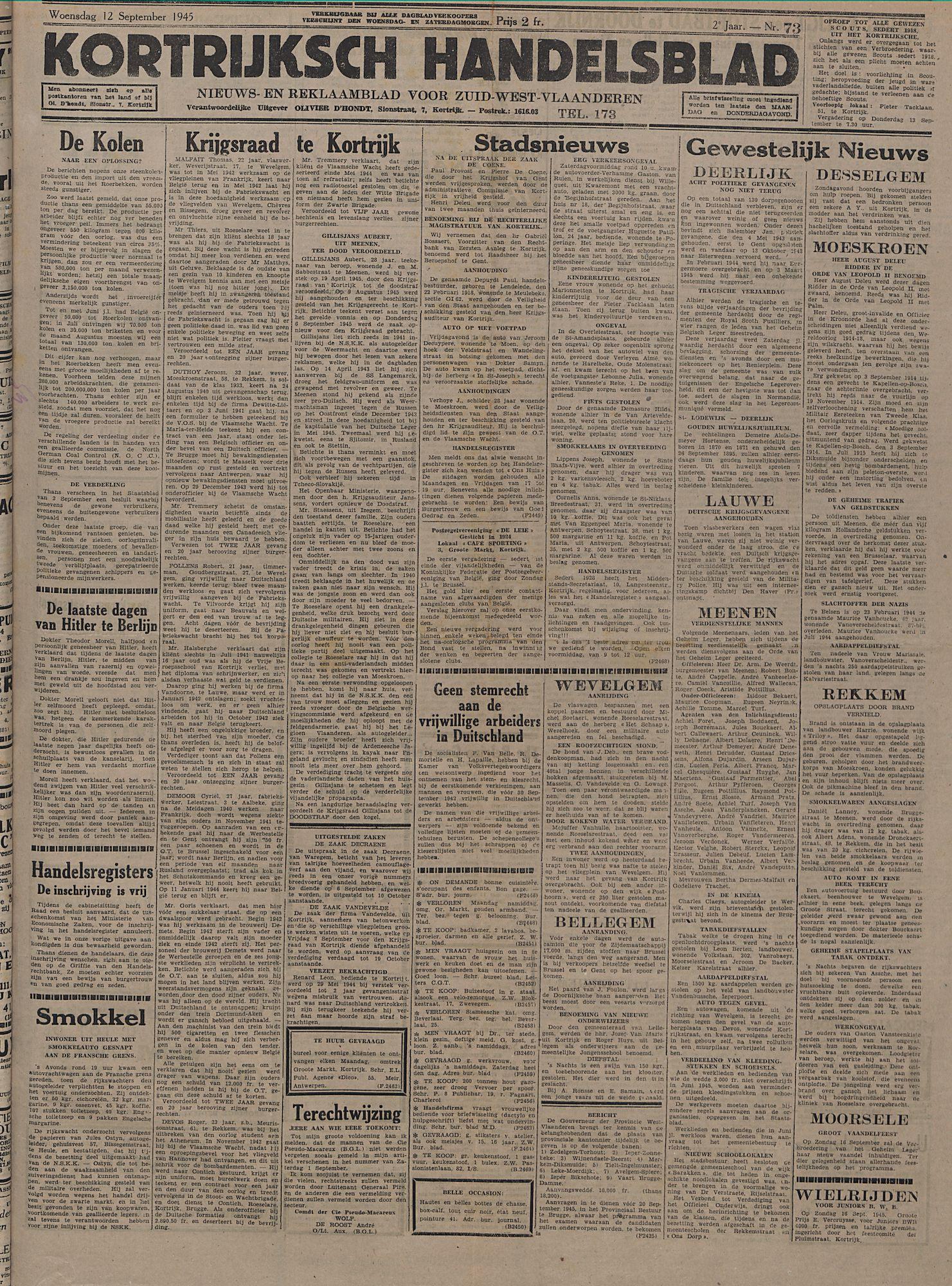Kortrijksch Handelsblad 12 september 1945 Nr73 p1