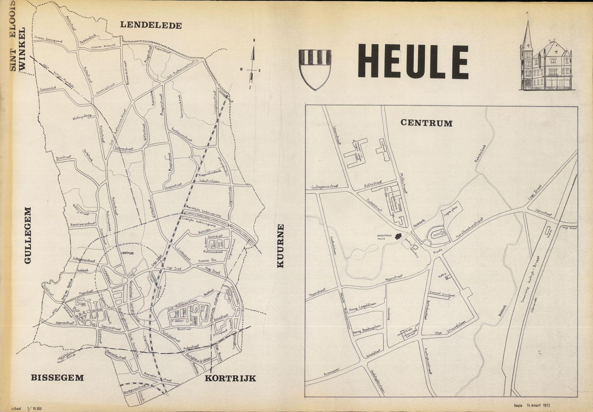 Kaart van Heule, 1972