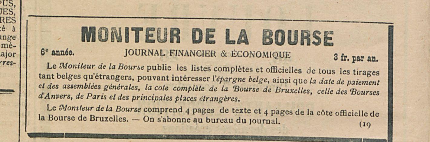 MONTEUR DE LA BOURSE