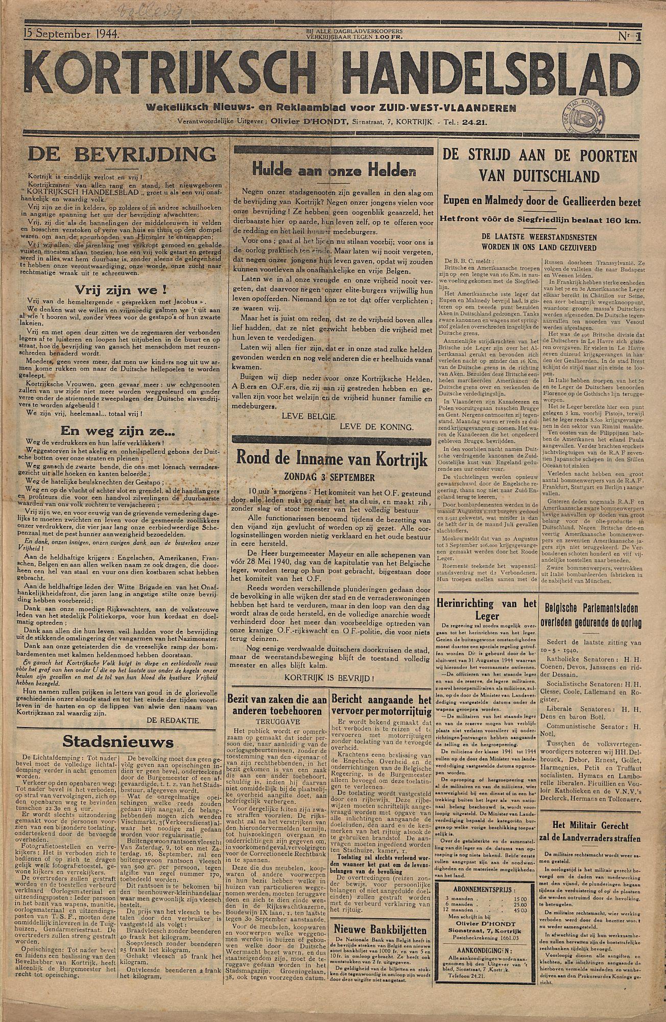 Kortrijksch Handelsblad 1944