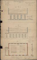 Bouwplannen van ontwerp voor een studiezaal van het Sint-Amandscollege te Kortrijk, 1876