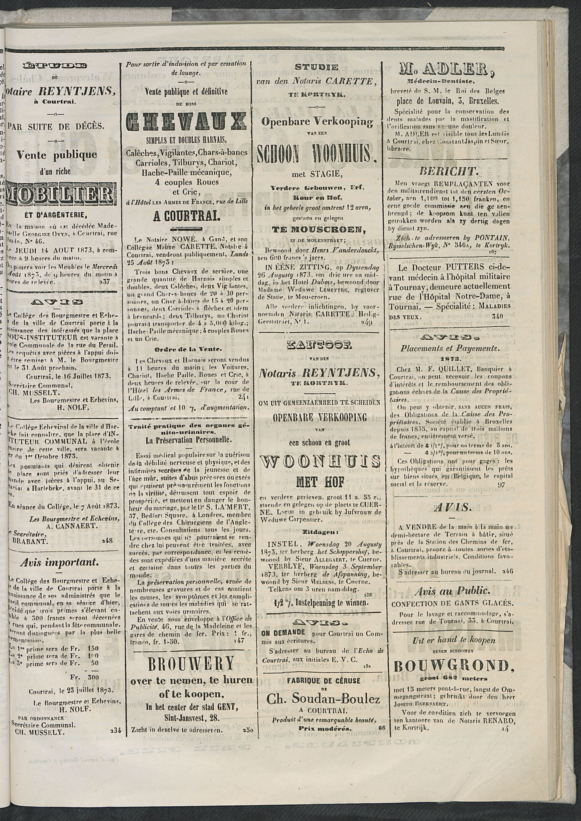 L'echo De Courtrai 1873-08-14 p3