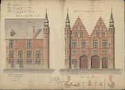 Bouwplannen van gevels van de Grote Hallen te Kortrijk, aan de kant van de Doorniksestraat, opgemaakt door Degeyne, 1904.