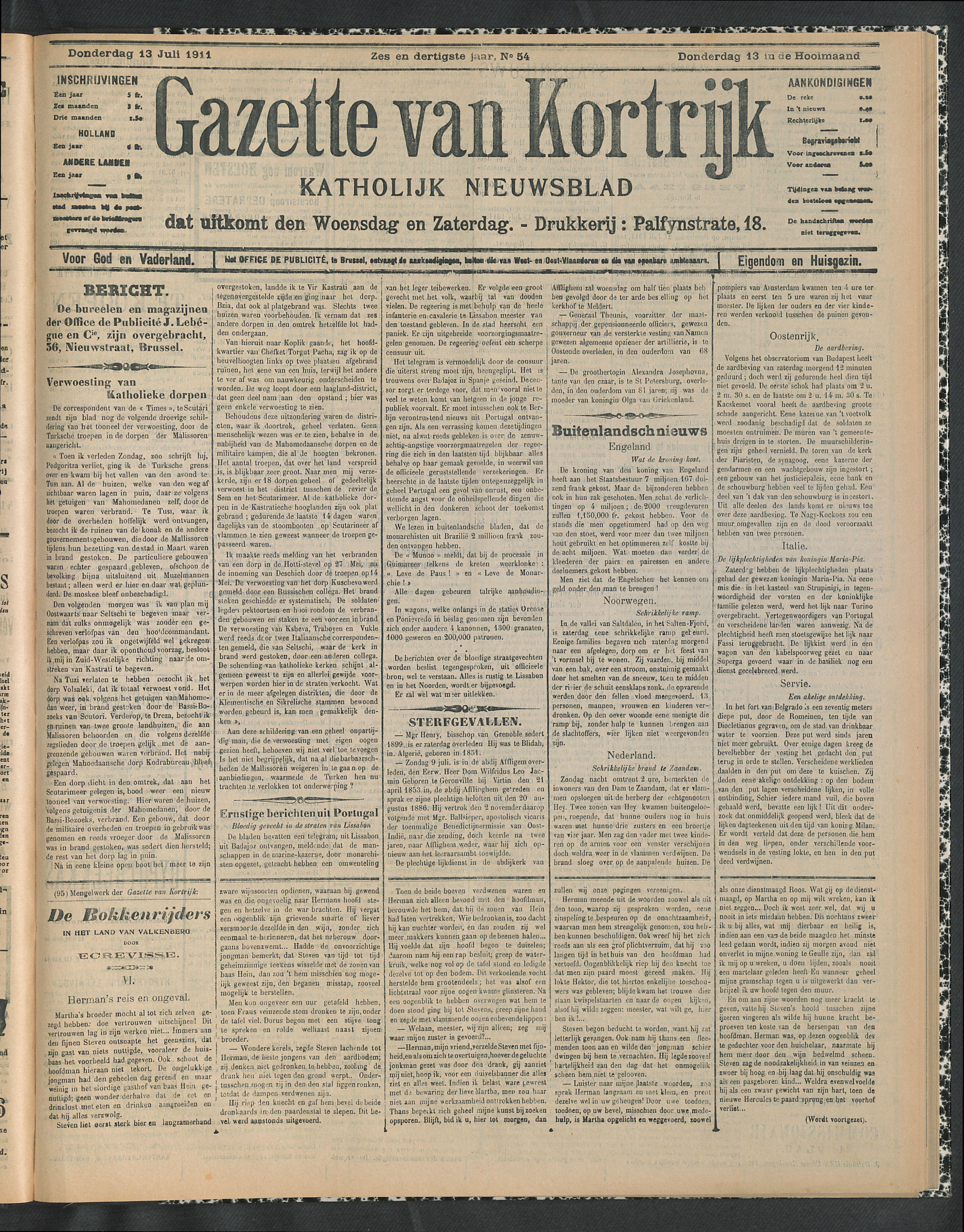 Gazette Van Kortrijk 1911-07-13 p1