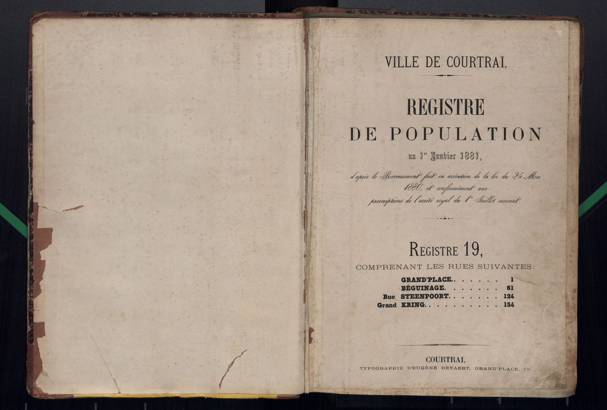 Bevolkingsregister Kortrijk 1880 boek 19