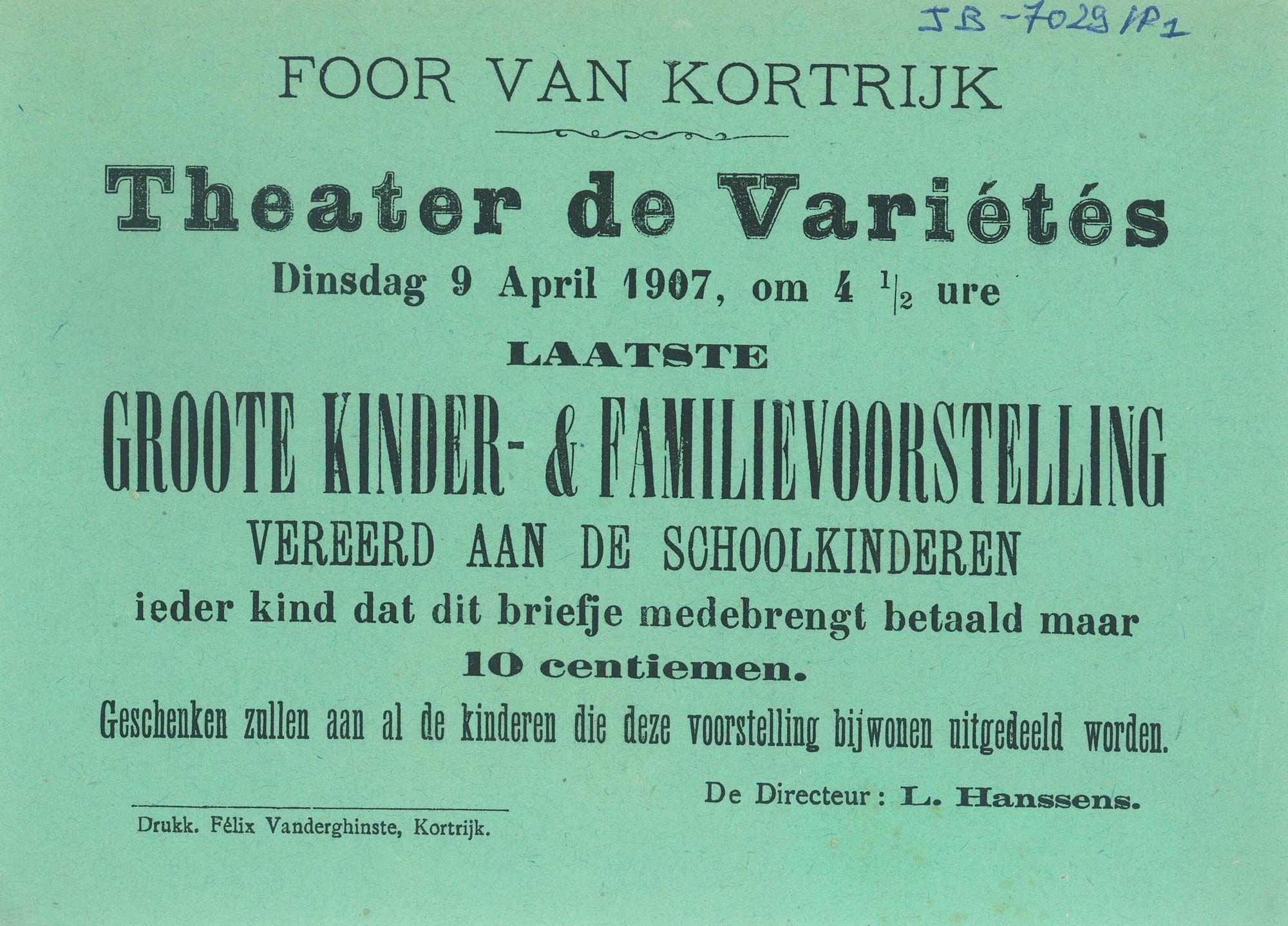 Paasfoor 1907: Grote Kinder- en Familievoorstelling