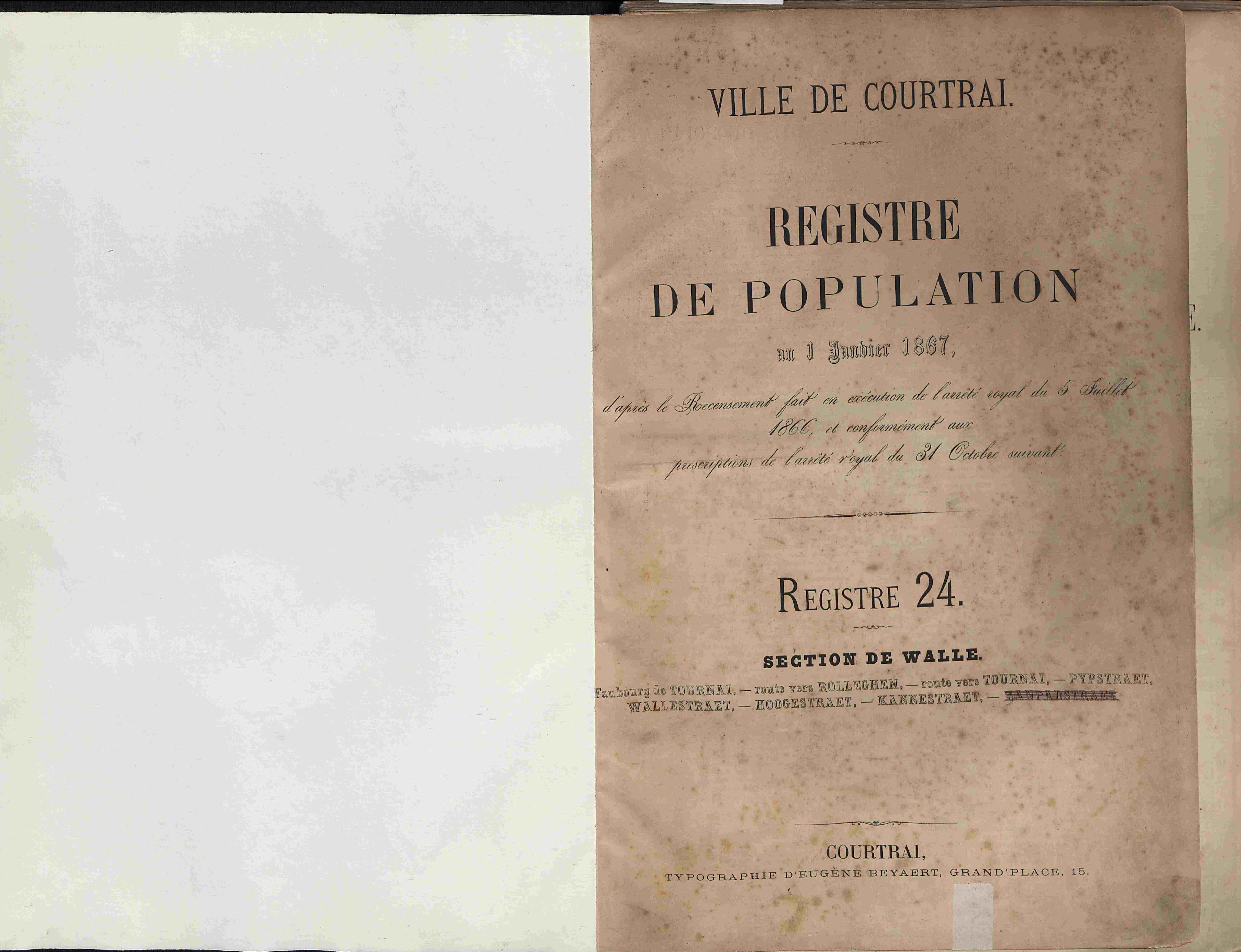 Bevolkingsregister Kortrijk 1866 boek 24