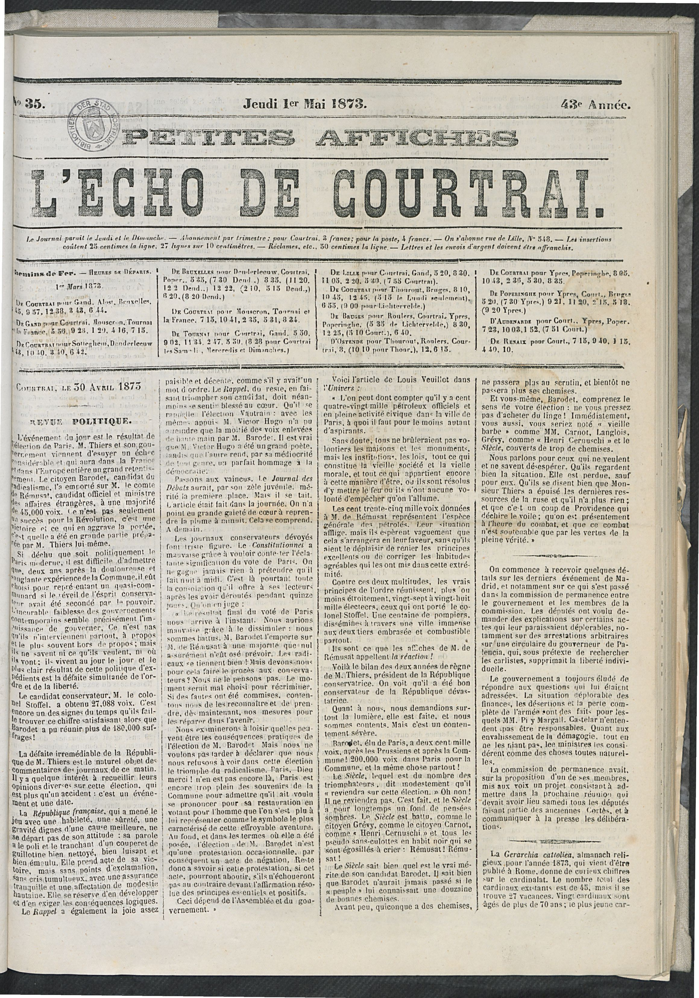 L'echo De Courtrai 1873-05-01 p1