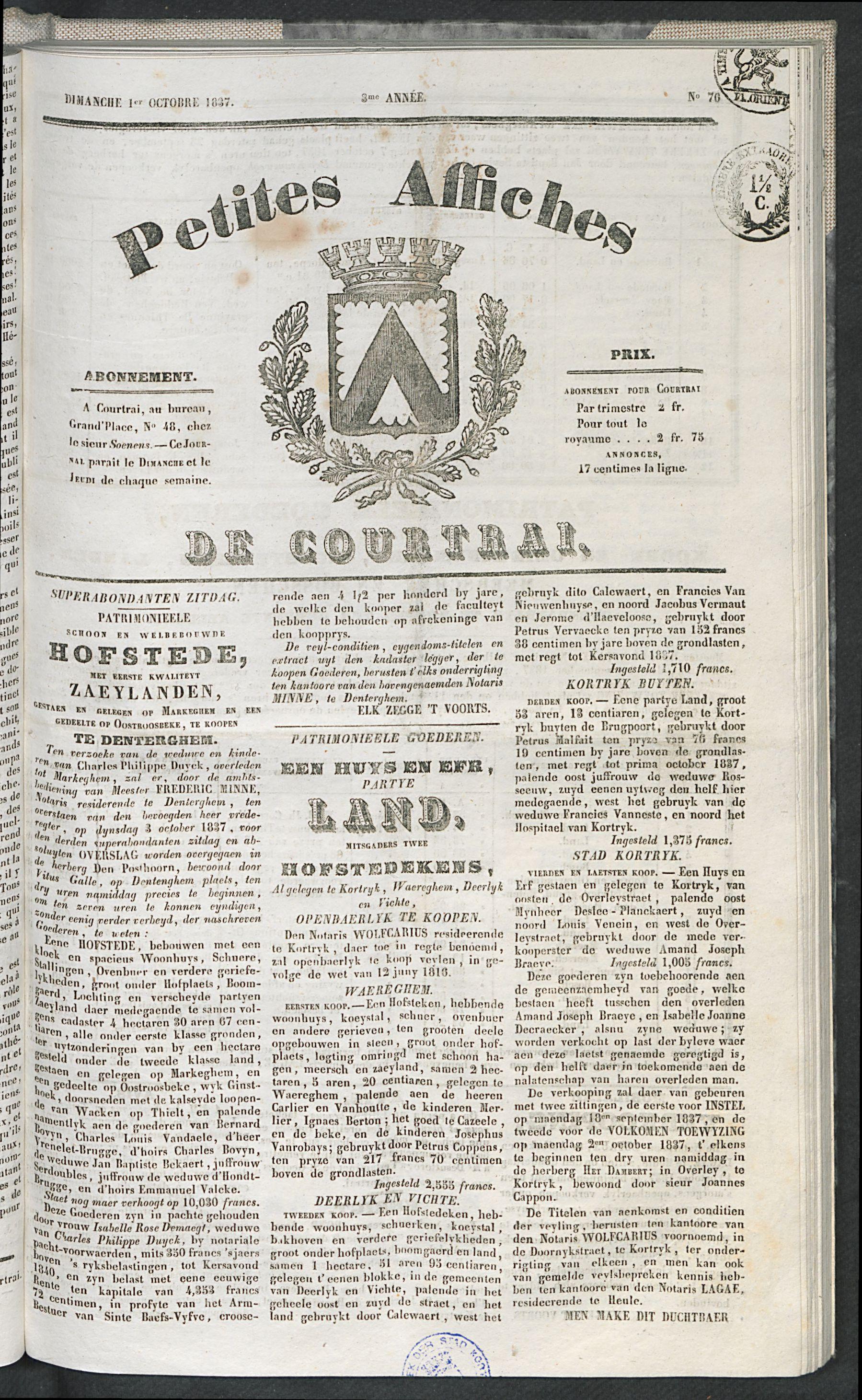 Petites Affiches De Courtrai 1837-10-01 p1