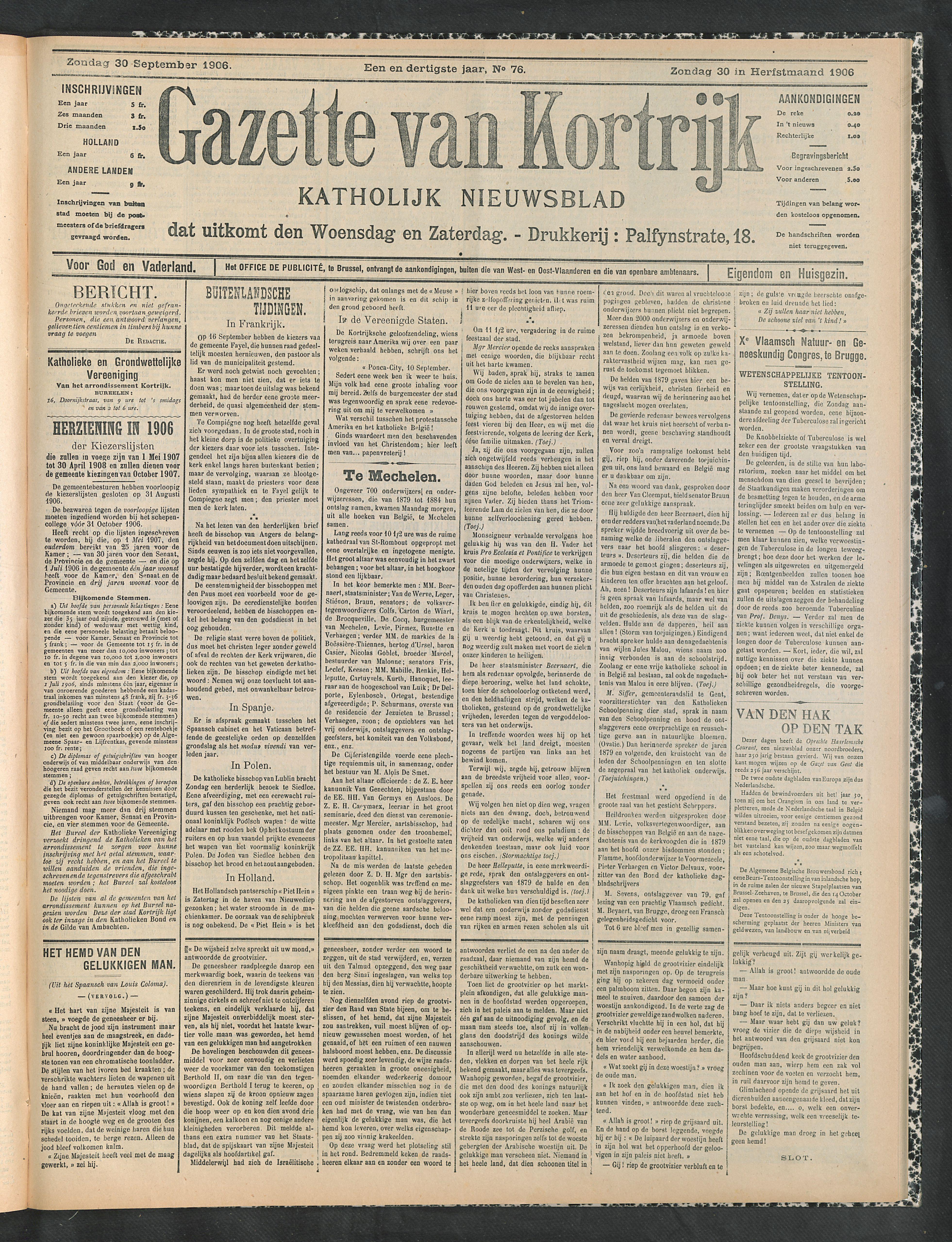 Gazette Van Kortrijk 1906-09-30 p1