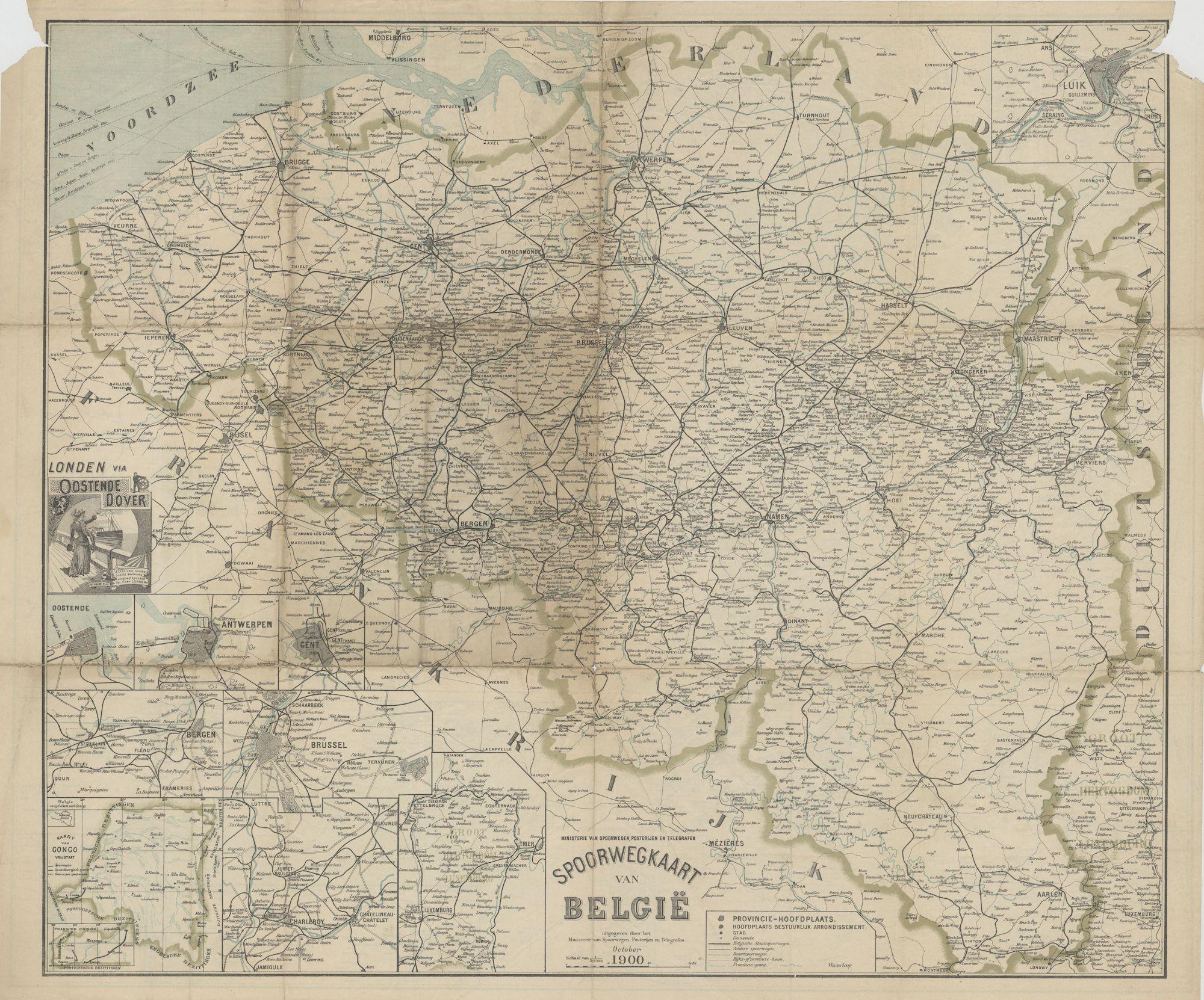 Westflandrica - België, spoorwegkaart