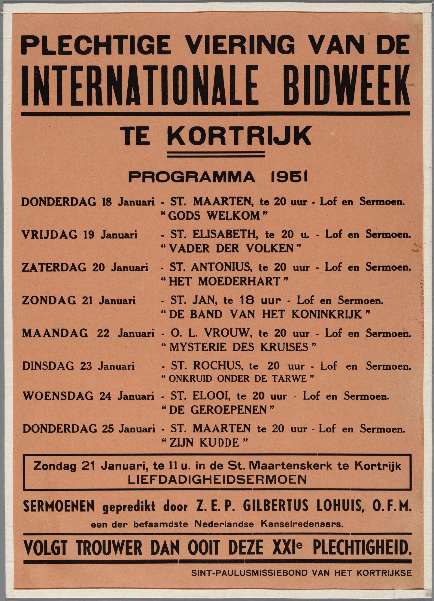 Plechtige viering van de Internationale Bidweek 1951