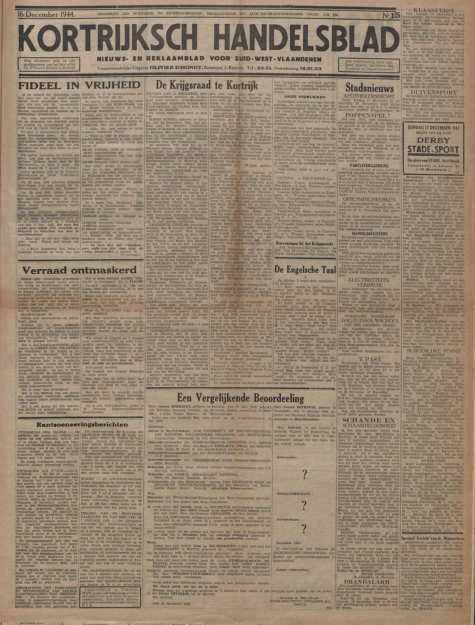 Kortrijksch Handelsblad 16 december 1944 Nr15 p1