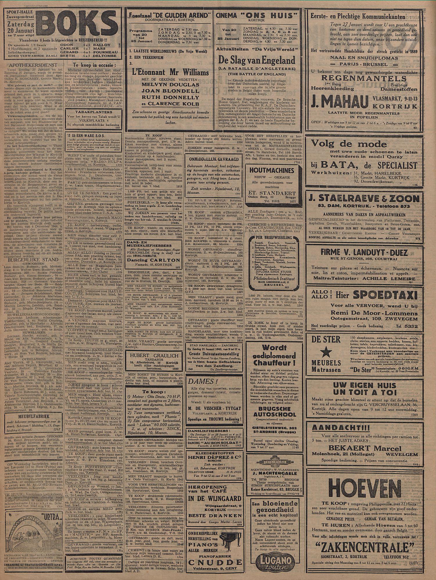 Kortrijksch Handelsblad 20 januari 1945 Nr6 p2