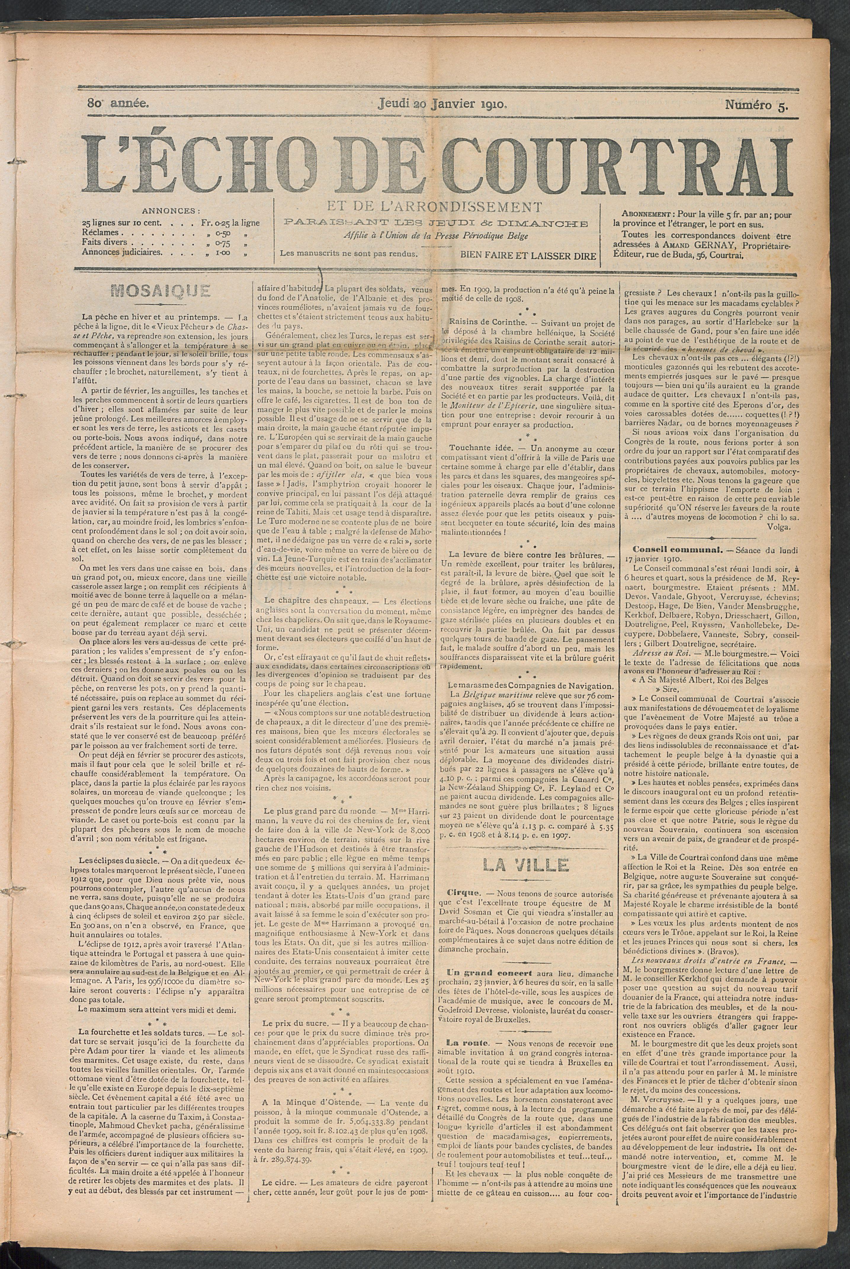 L'echo De Courtrai 1910-01-20 p1