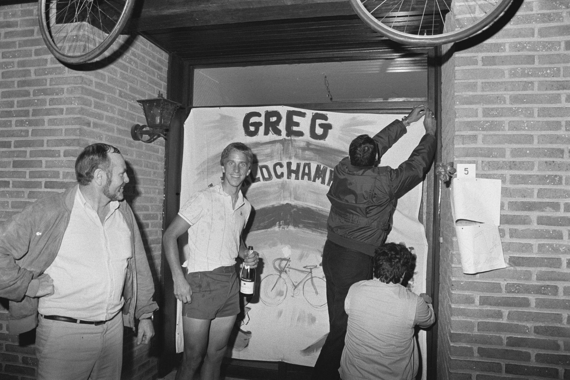 Huldiging wereldkampioen Greg Lemond