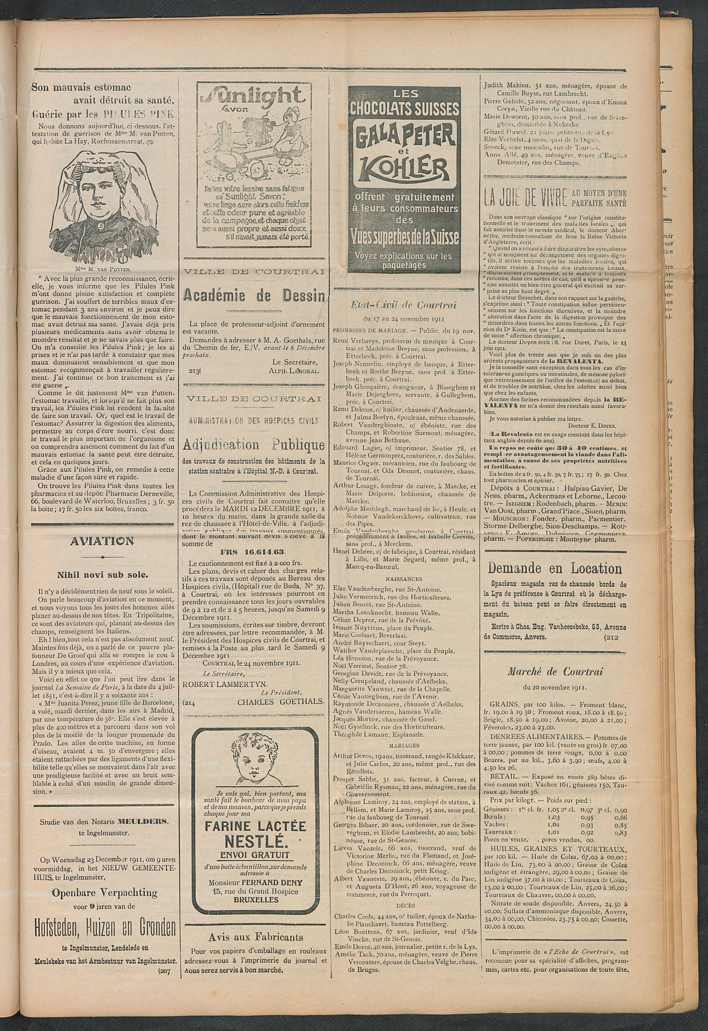 L'echo De Courtrai 1911-11-26 p3