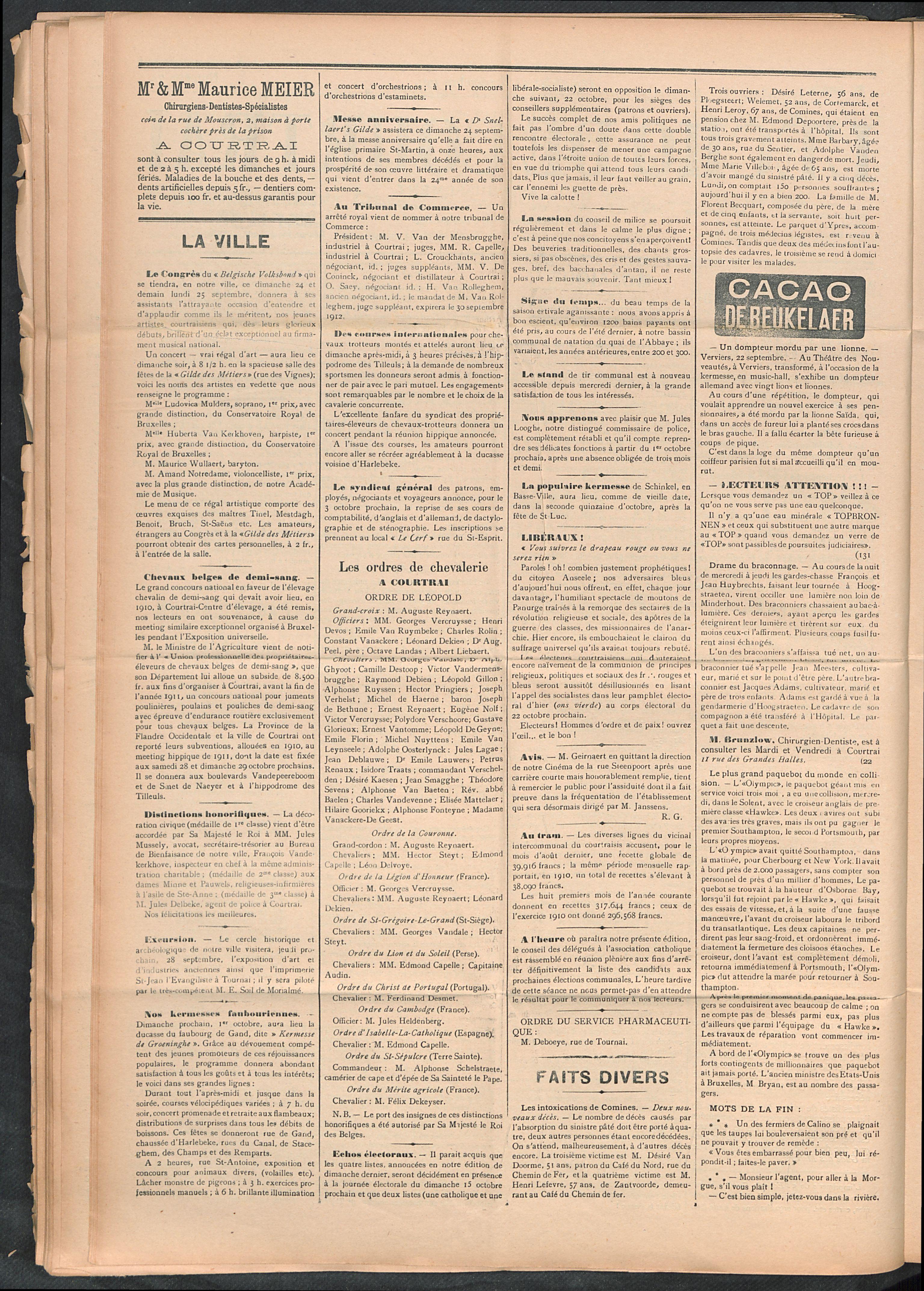 L'echo De Courtrai 1911-09-24 p2