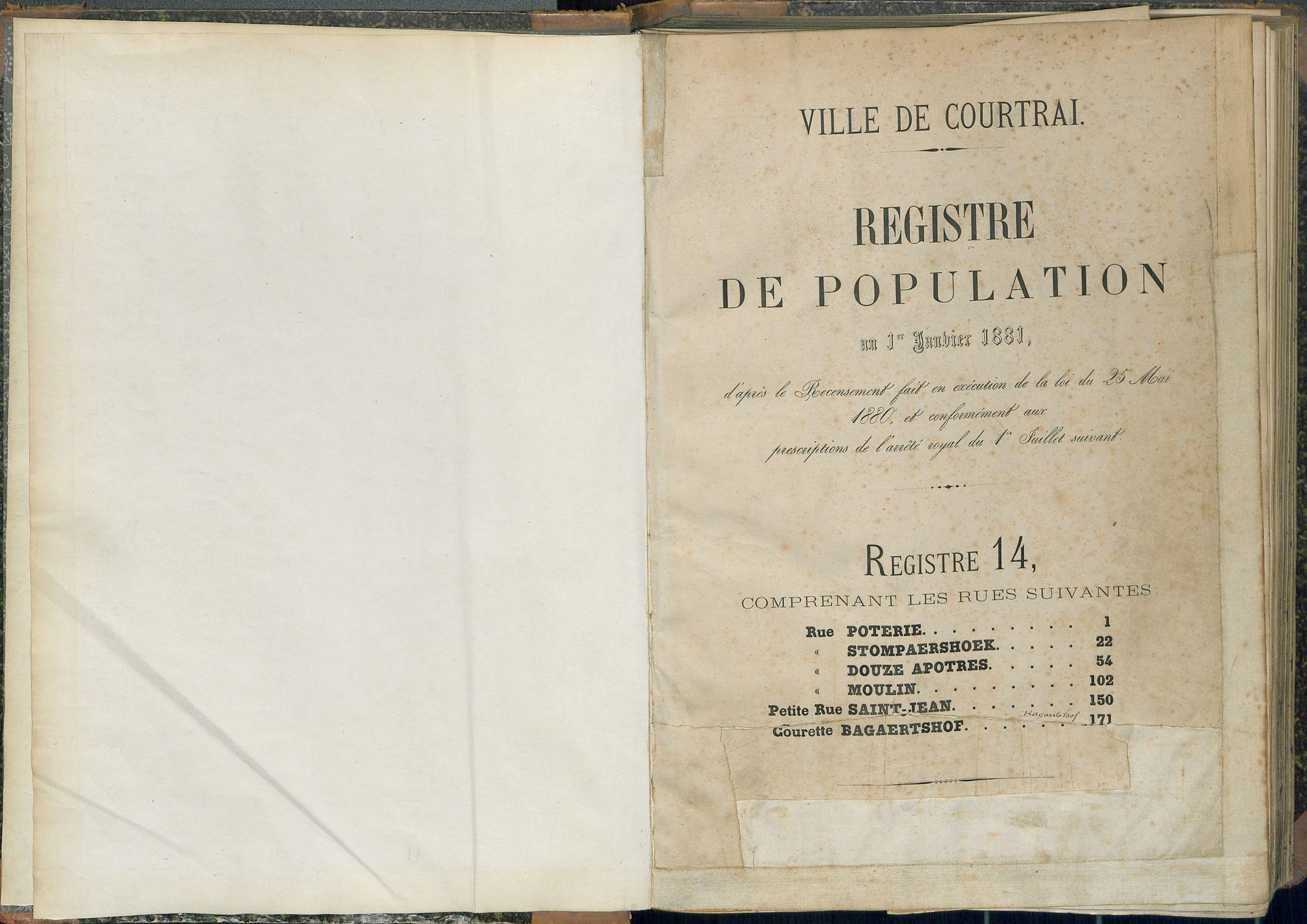 Bevolkingsregister Kortrijk 1880 boek 14