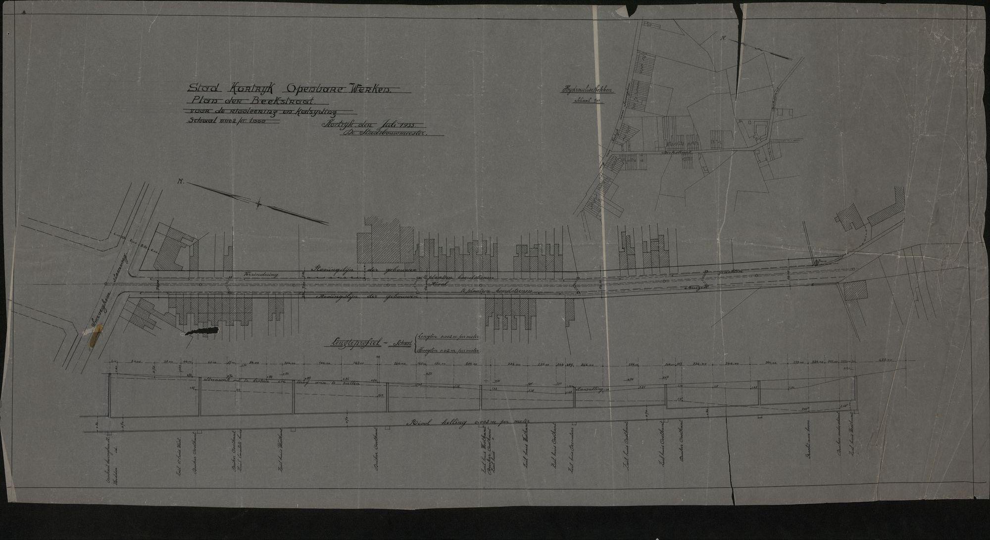 Plattegrond van de Beekstraat i.v.m. riolering en het kasseien te Kortrijk, 1933