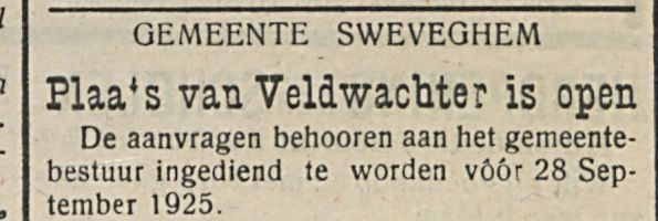 Plaa's van Veldwacbter is open