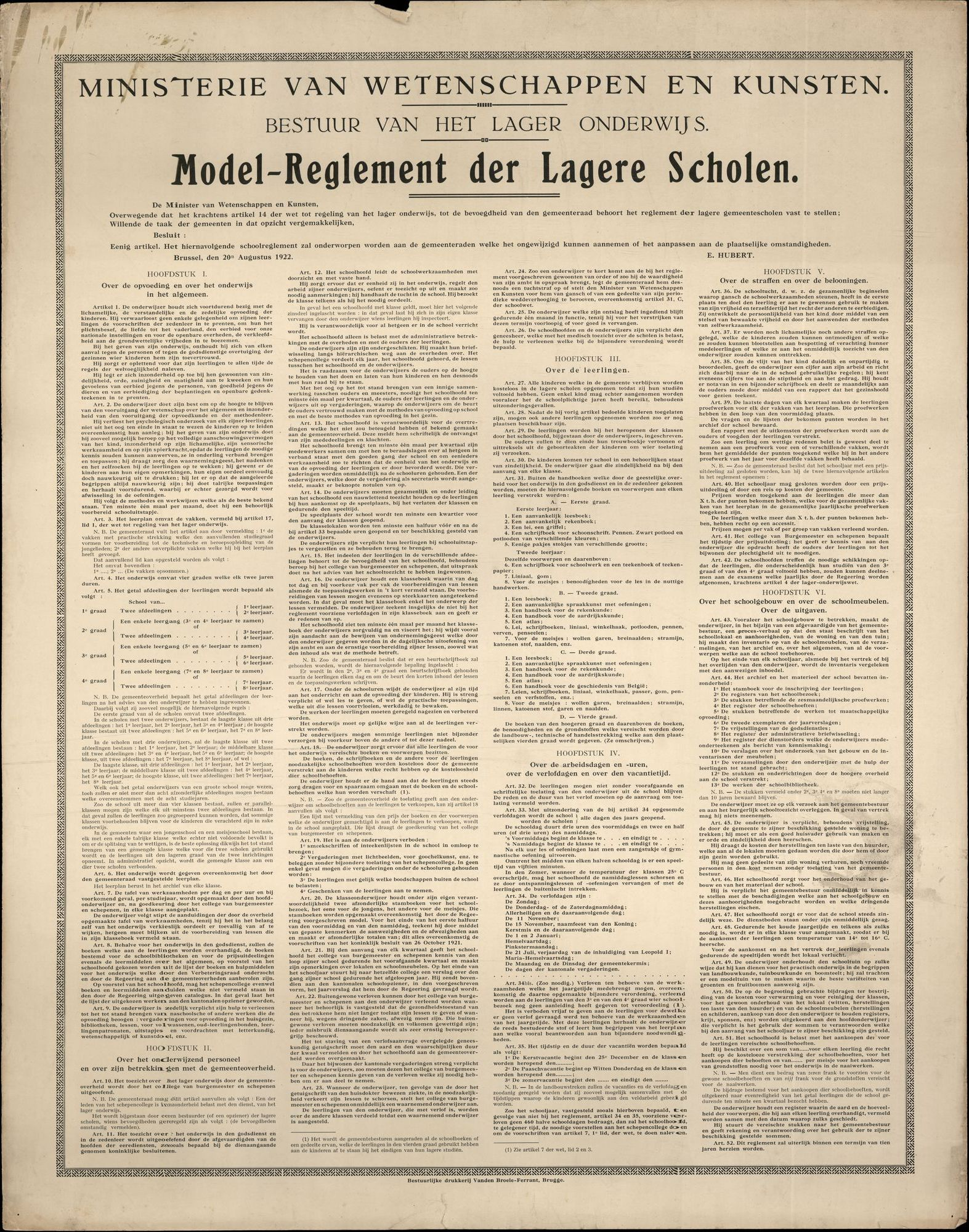 Modelreglement der lagere scholen