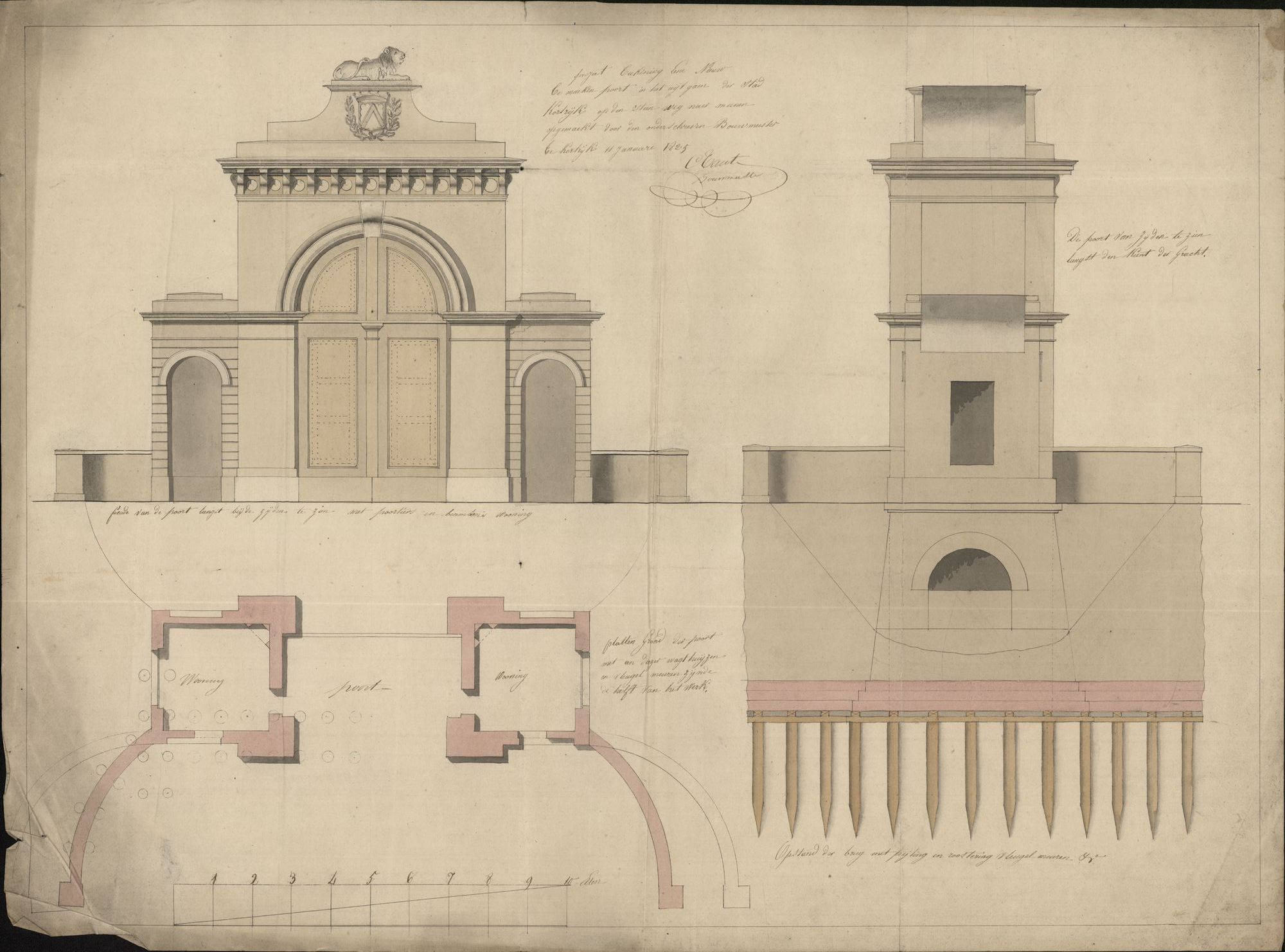Bouwplan met ontwerp van een nieuw te maken poort in het uitgaan van de stad Kortrijk op de steenweg naar Menen, 1825.