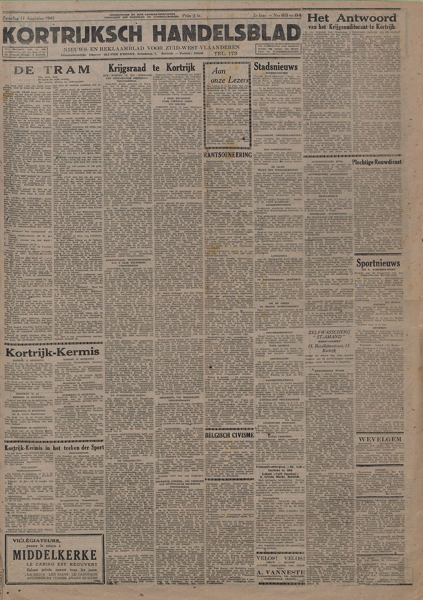 Kortrijksch Handelsblad 11 augustus 1945 Nr63 en 64 p1