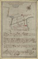 Bouwplan voor het uitdiepen tot 10 voeten en het verbreden tot 24 voeten van een gedeelte van de stadsgracht in de nabijheid van de Brugsepoort te Kortrijk, opgemaakt door P.C. Steur, 1819