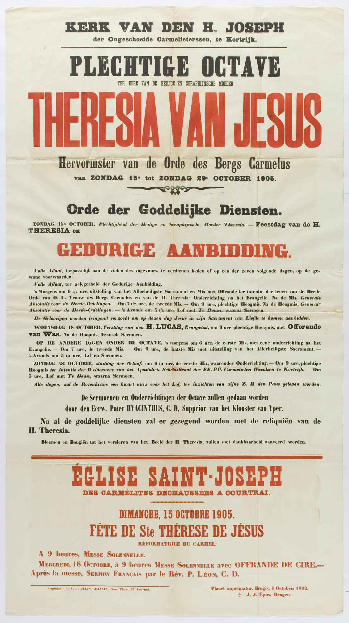 Plechtigheden Kerk van de Heilige Joseph (kapel der Karmelietessen Theresianen) 1905