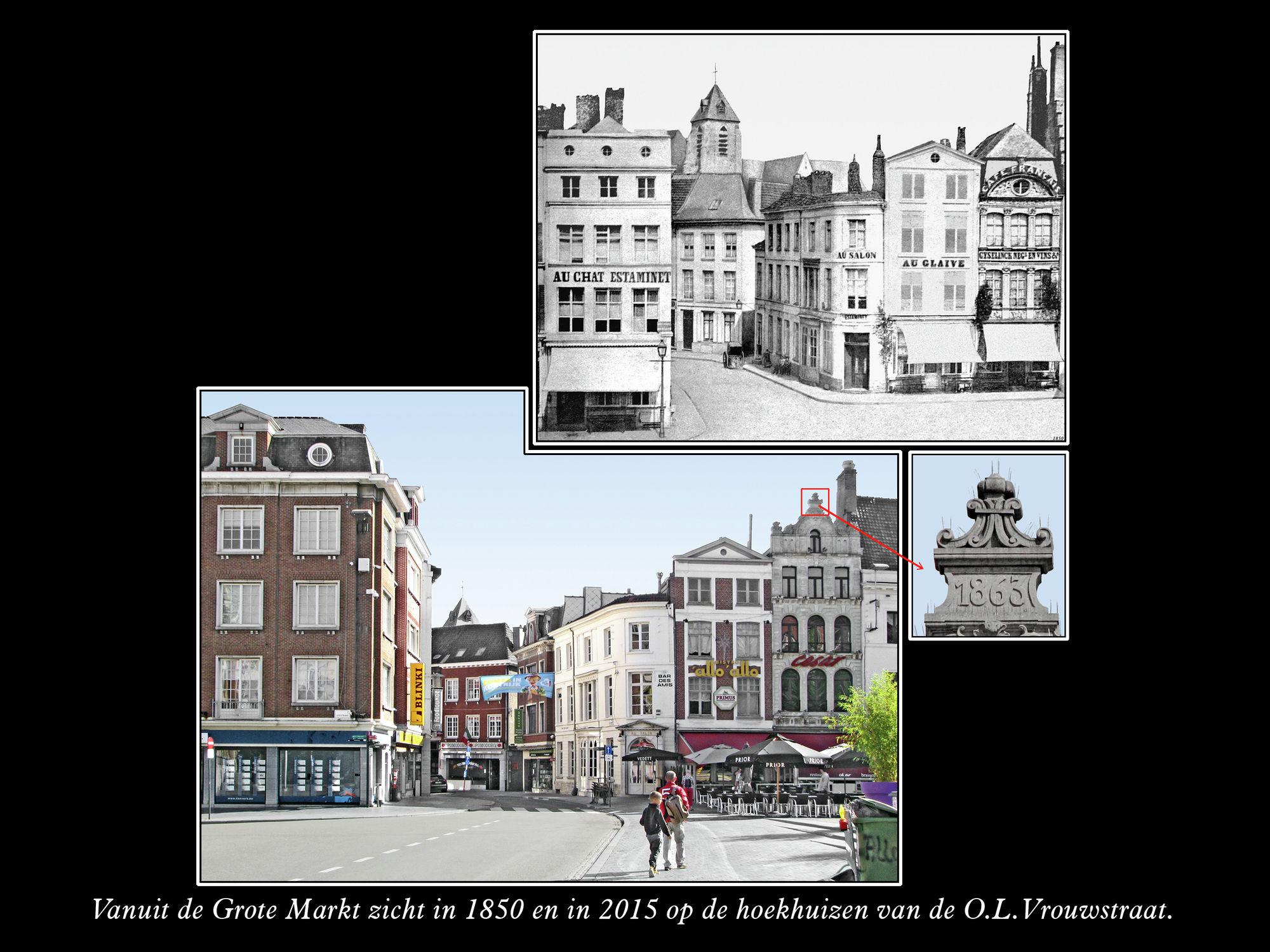 Hoekhuizen O.L.Vrouwestraat 1850 en 2015