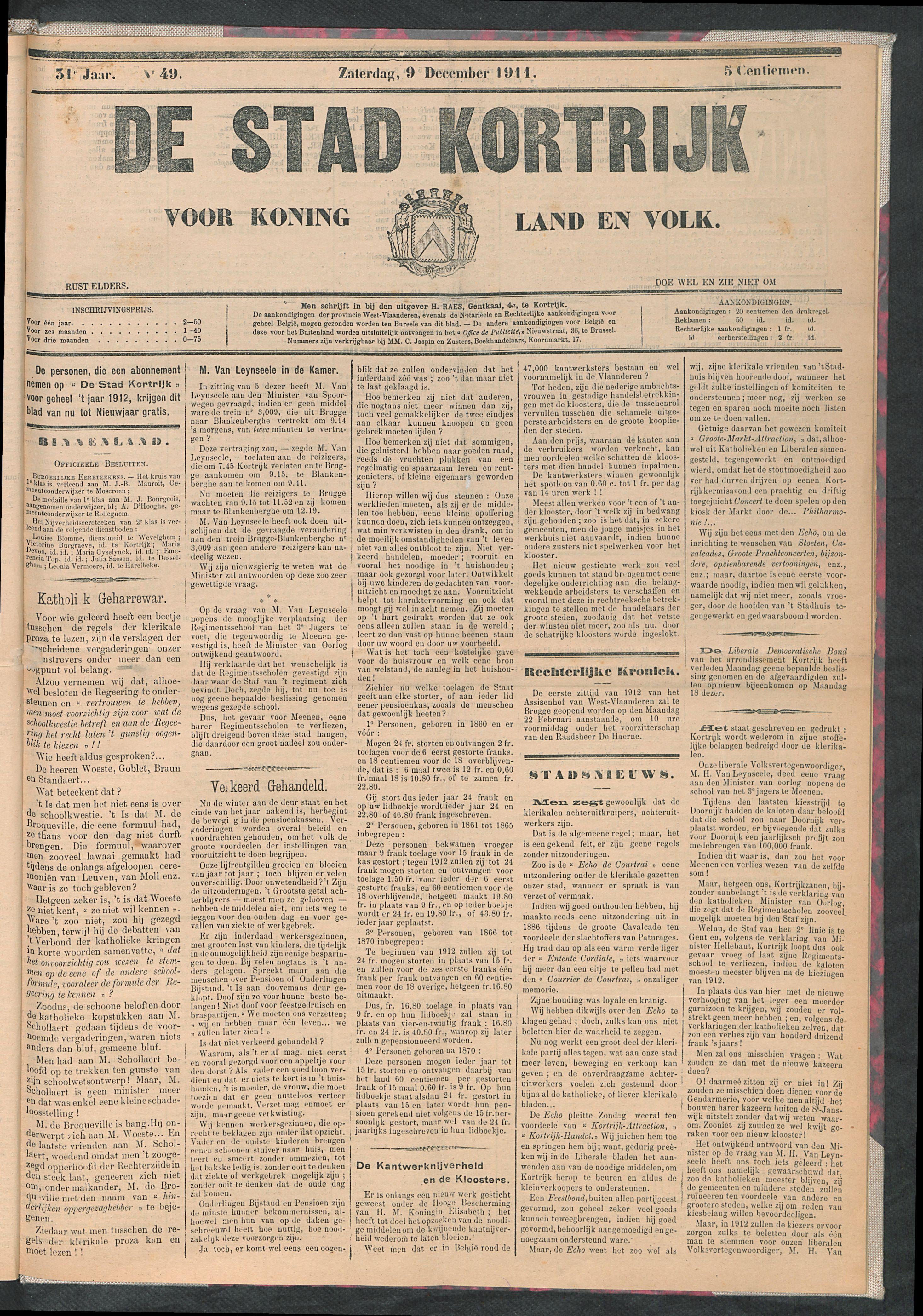 De Stad Kortrijk 1911-12-09 p1
