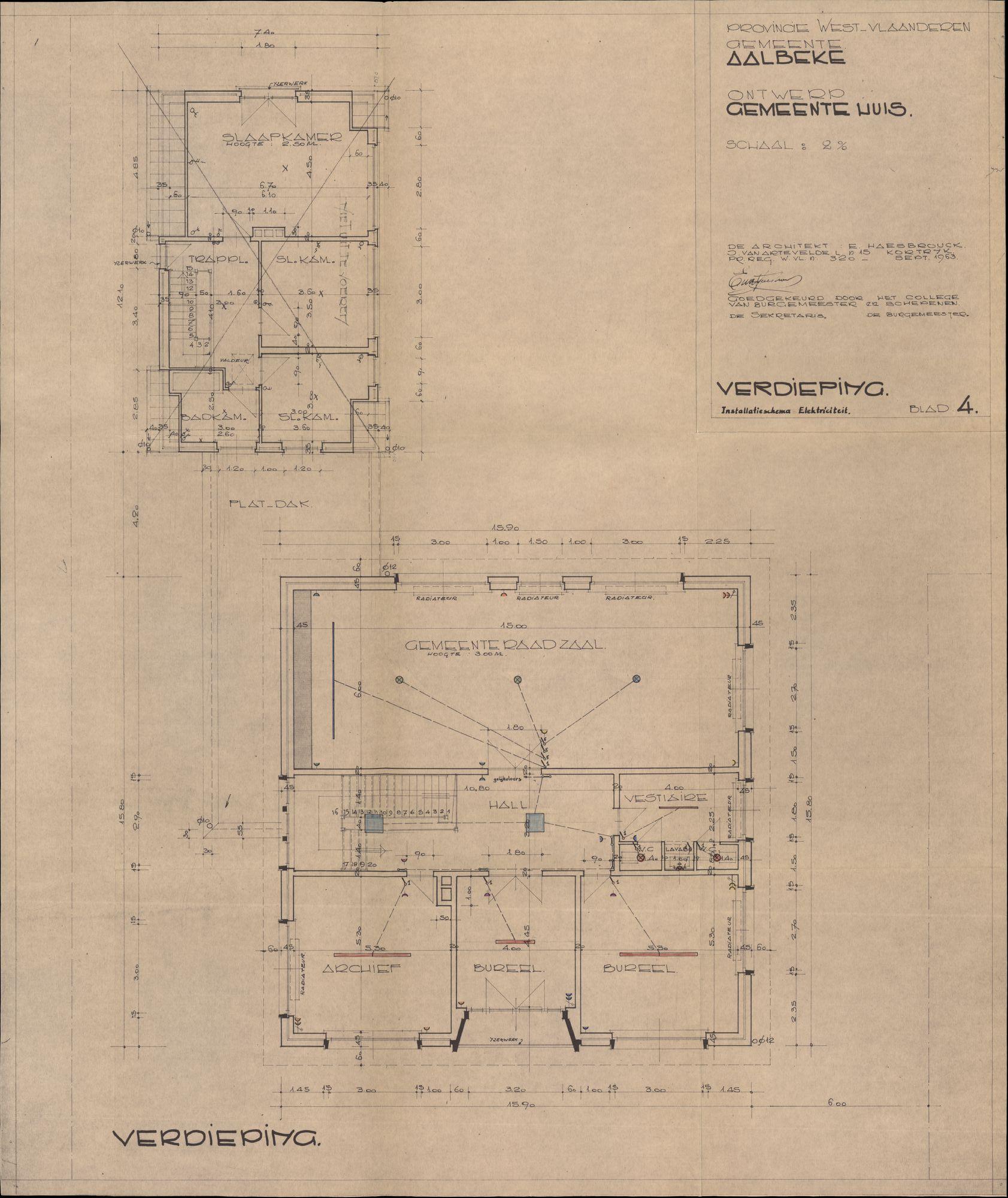 Bouwplannen voor een nieuw gemeentehuis te Aalbeke, 1963-1969