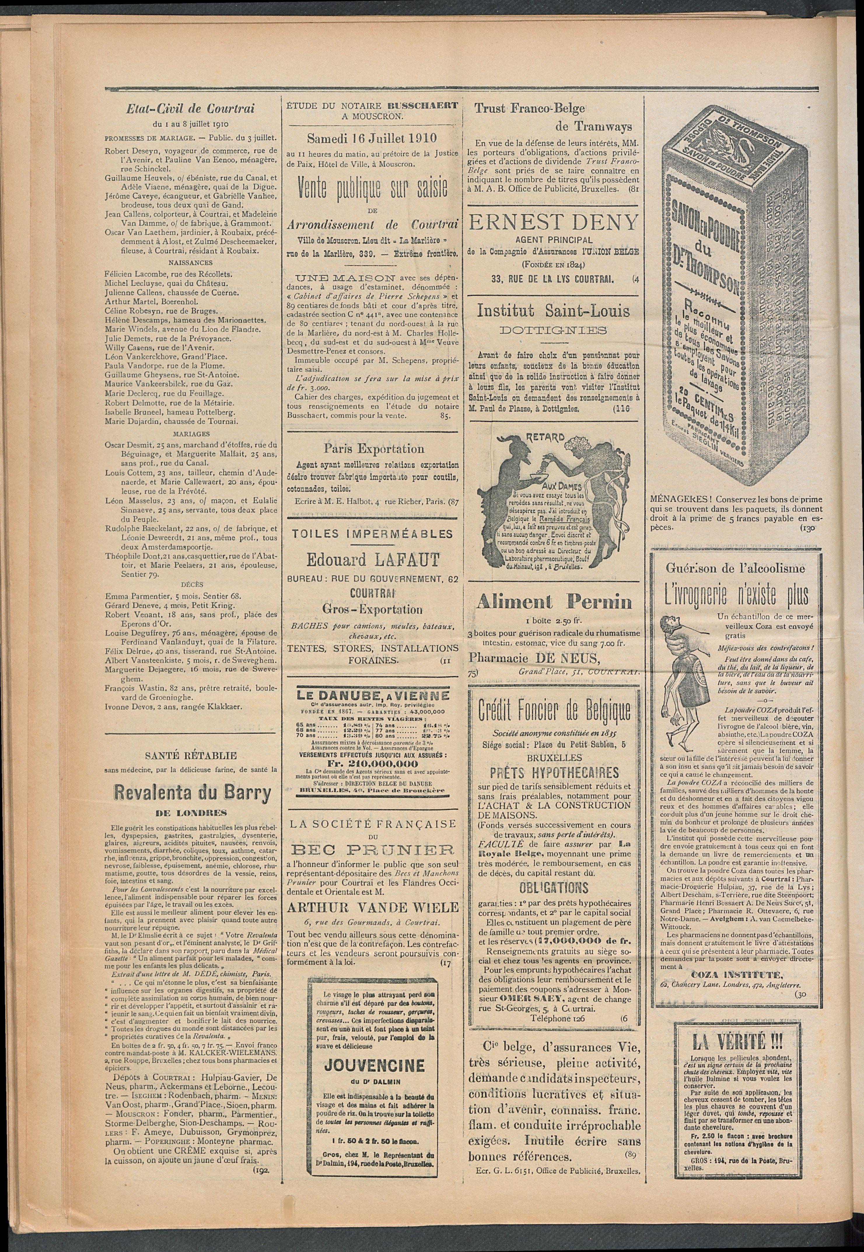 L'echo De Courtrai 1910-07-10 p4