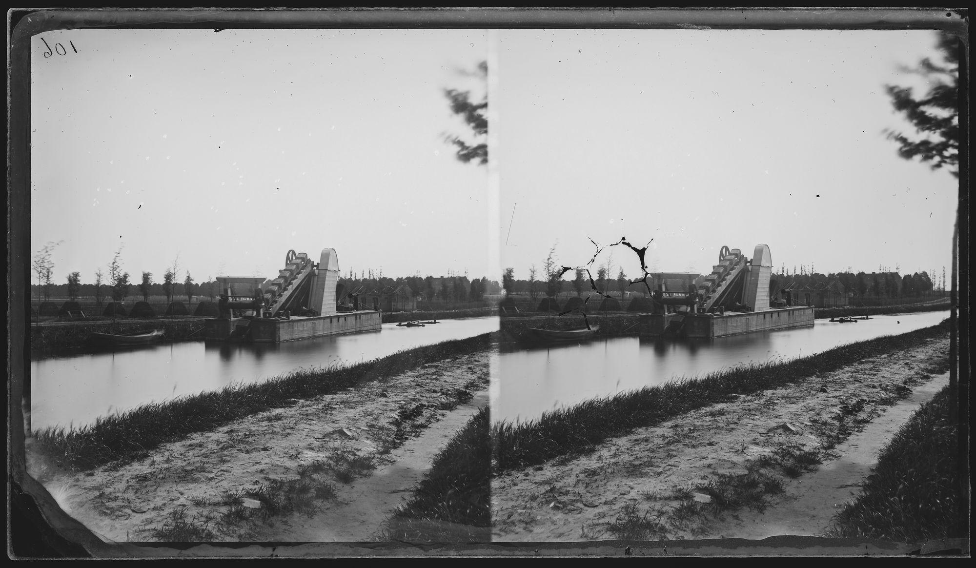 Baggerwerken op het Kanaal Kortrijk-Bossuit circa 1859