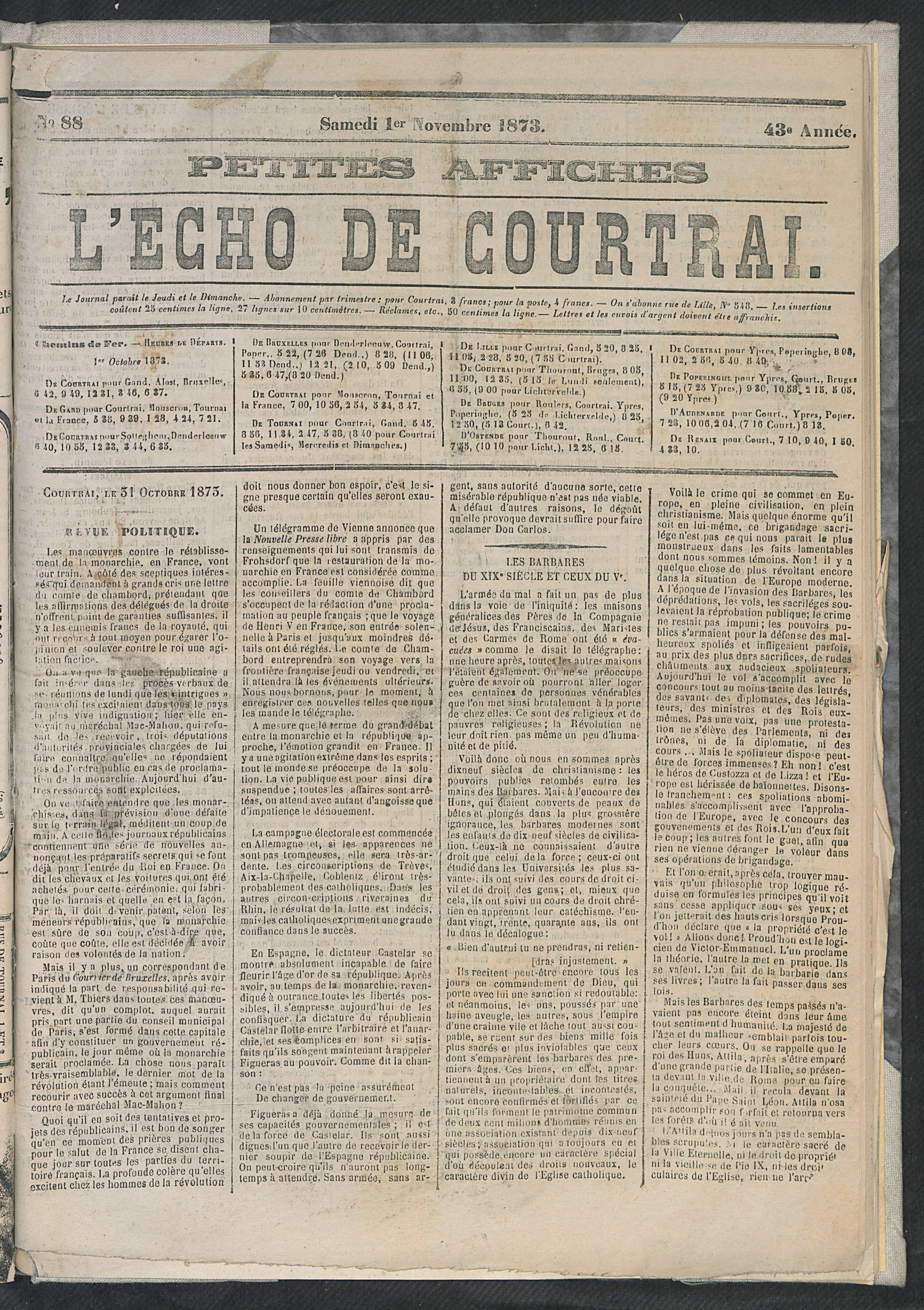 L'echo De Courtrai 1873-11-01 p1