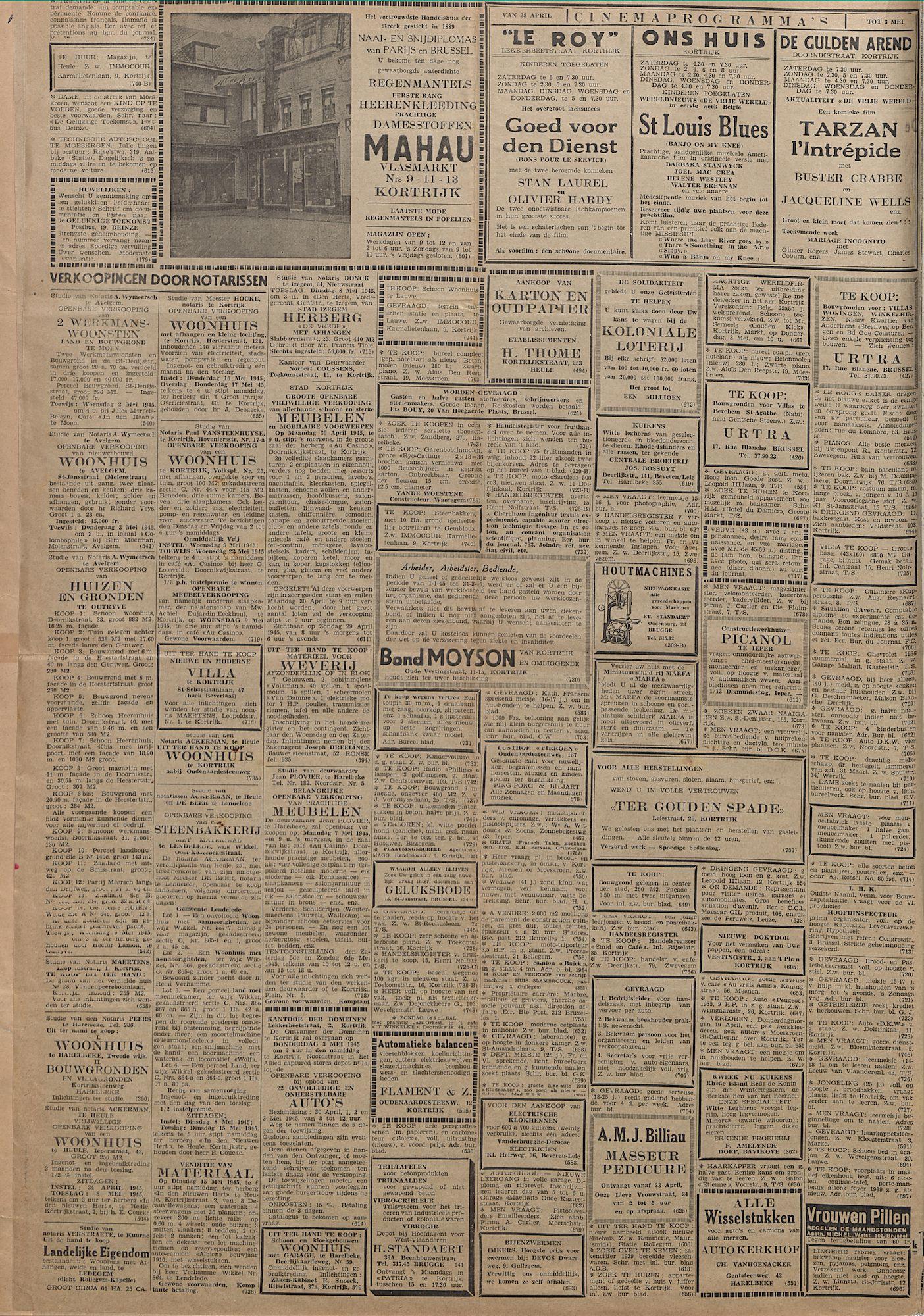 Kortrijksch Handelsblad 28 april 1945 Nr34 p2