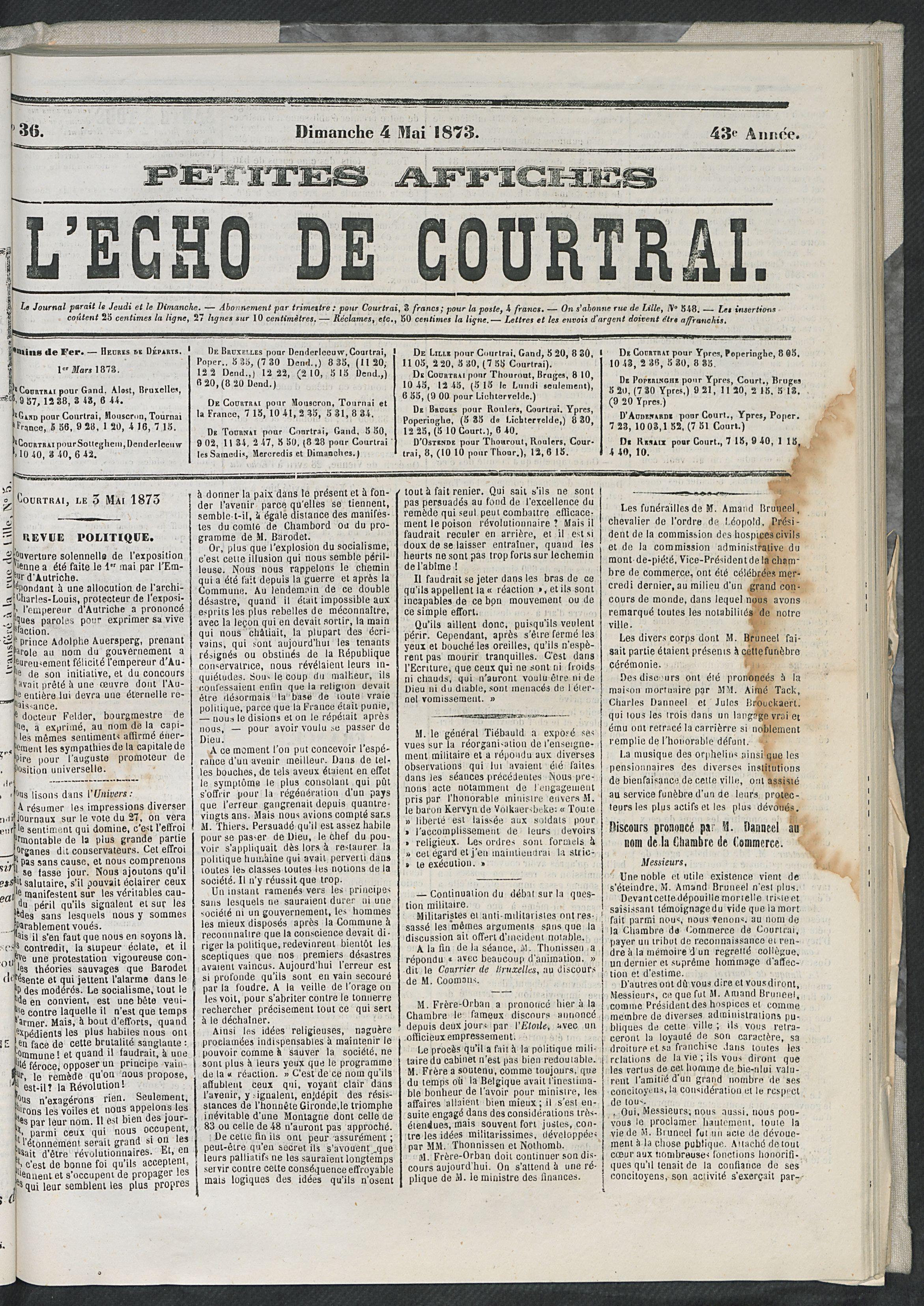 L'echo De Courtrai 1873-05-04 p1