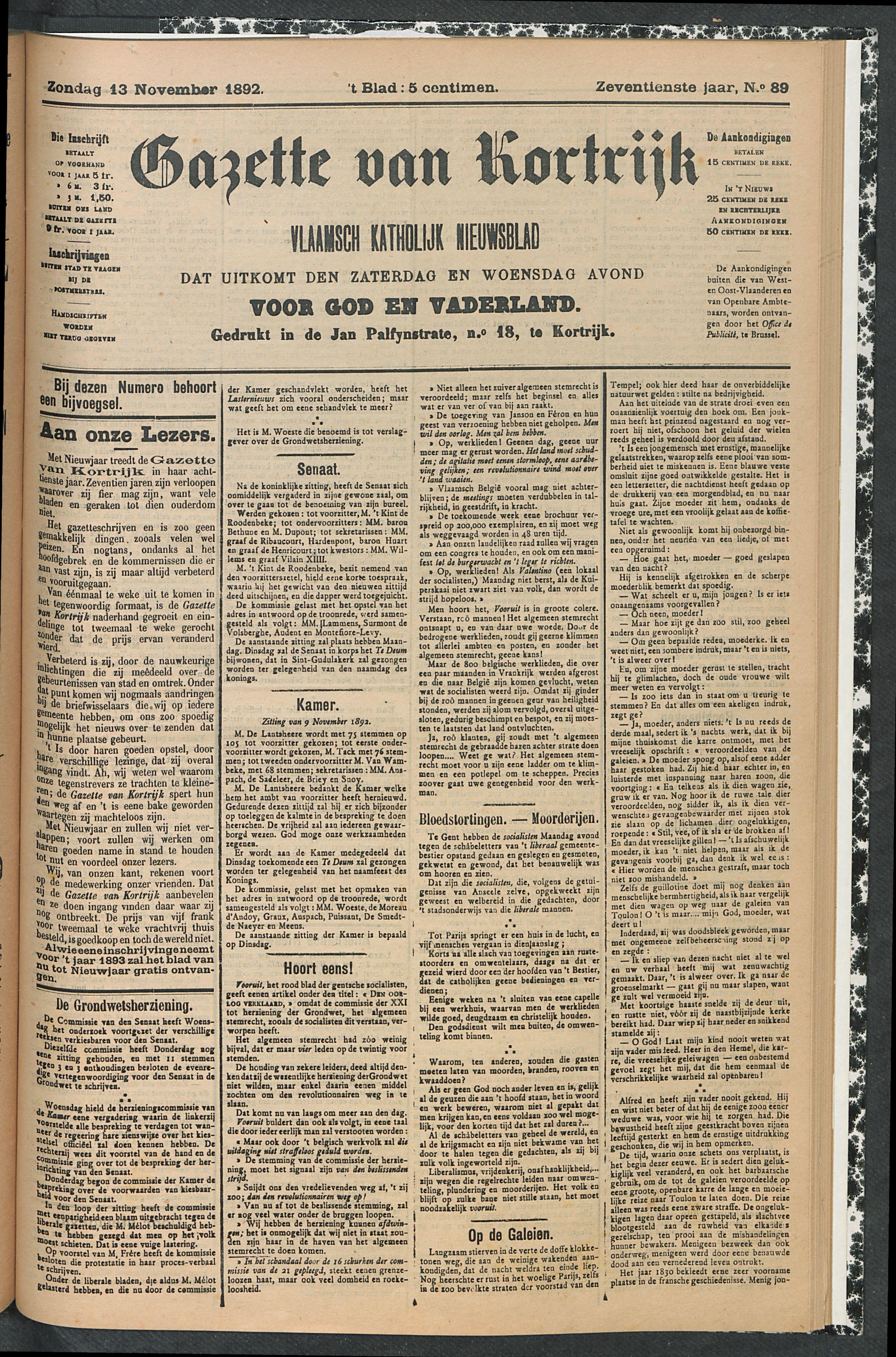 Gazette Van Kortrijk 1892-11-13 p1