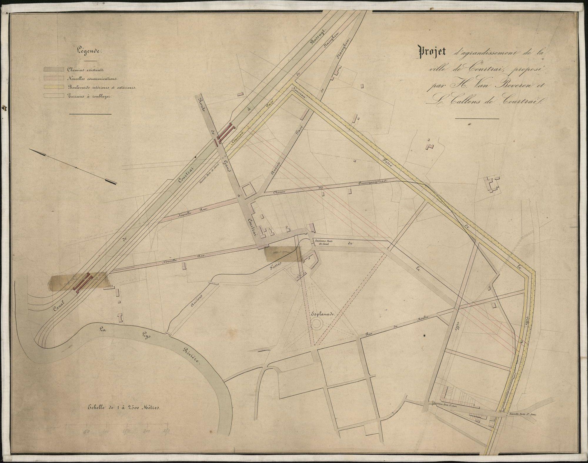 Plattegrond met ontwerp voor een uitbreiding aan de oostkant van de stad Kortrijk met opgave van nieuwe straten en grachten tussen het kanaal en de Sint-Janspoort, opgemaakt door H. Van Beveren en L. Callens, ± 1865