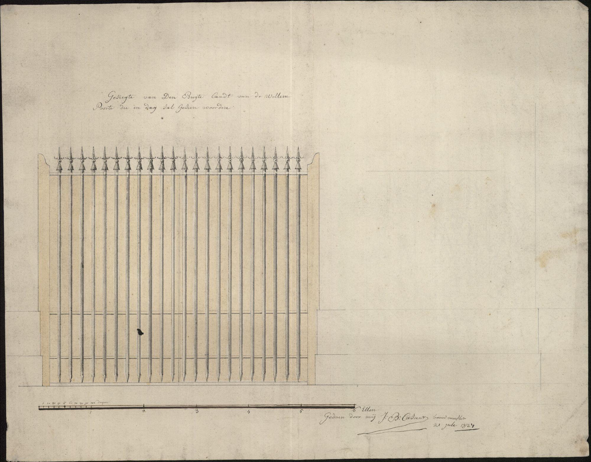 Bouwplan van een hekken aan de Willemspoort te Kortrijk, 1827