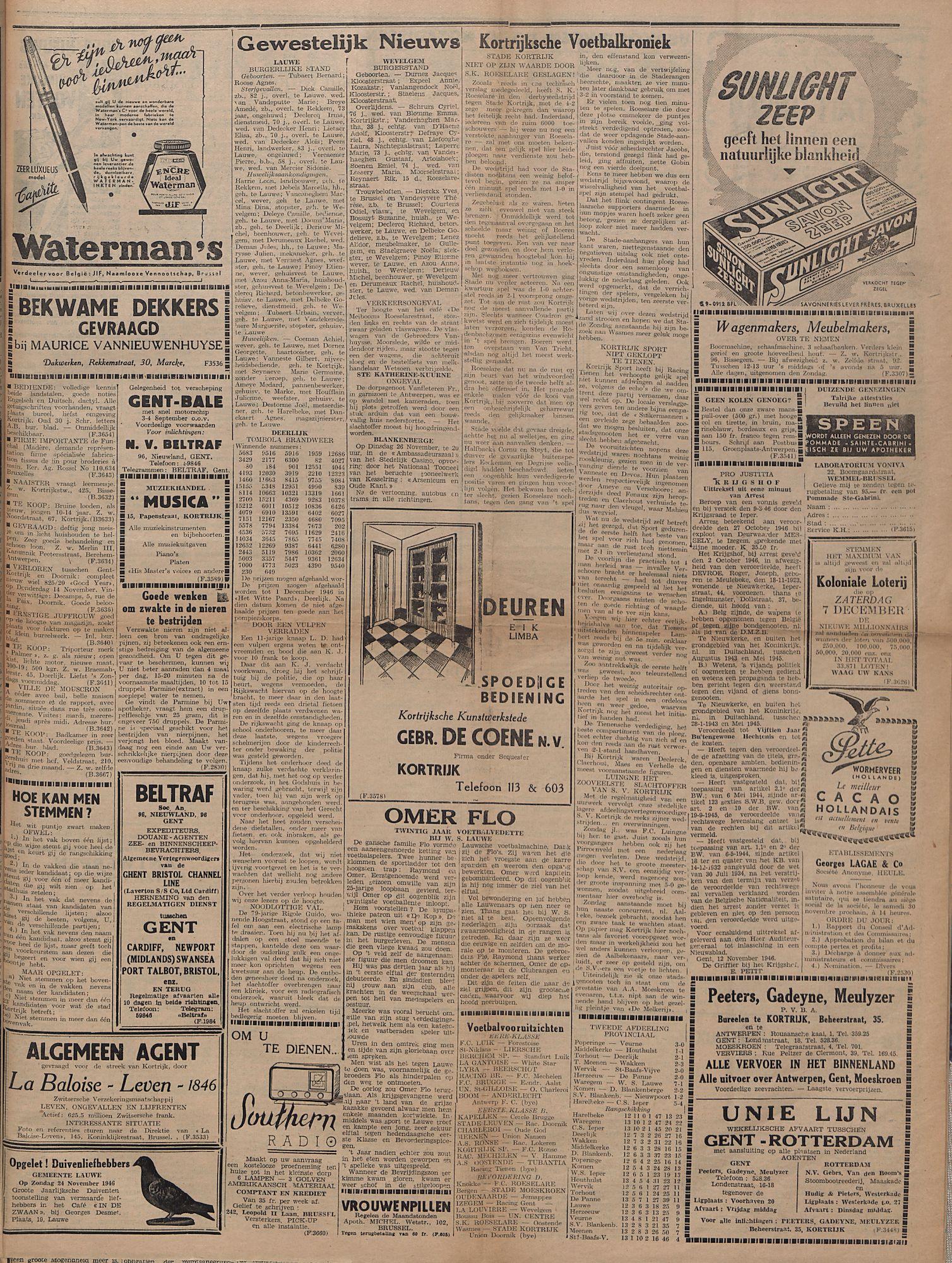 Kortrijksch Handelsblad 22 november 1946 Nr94 p3