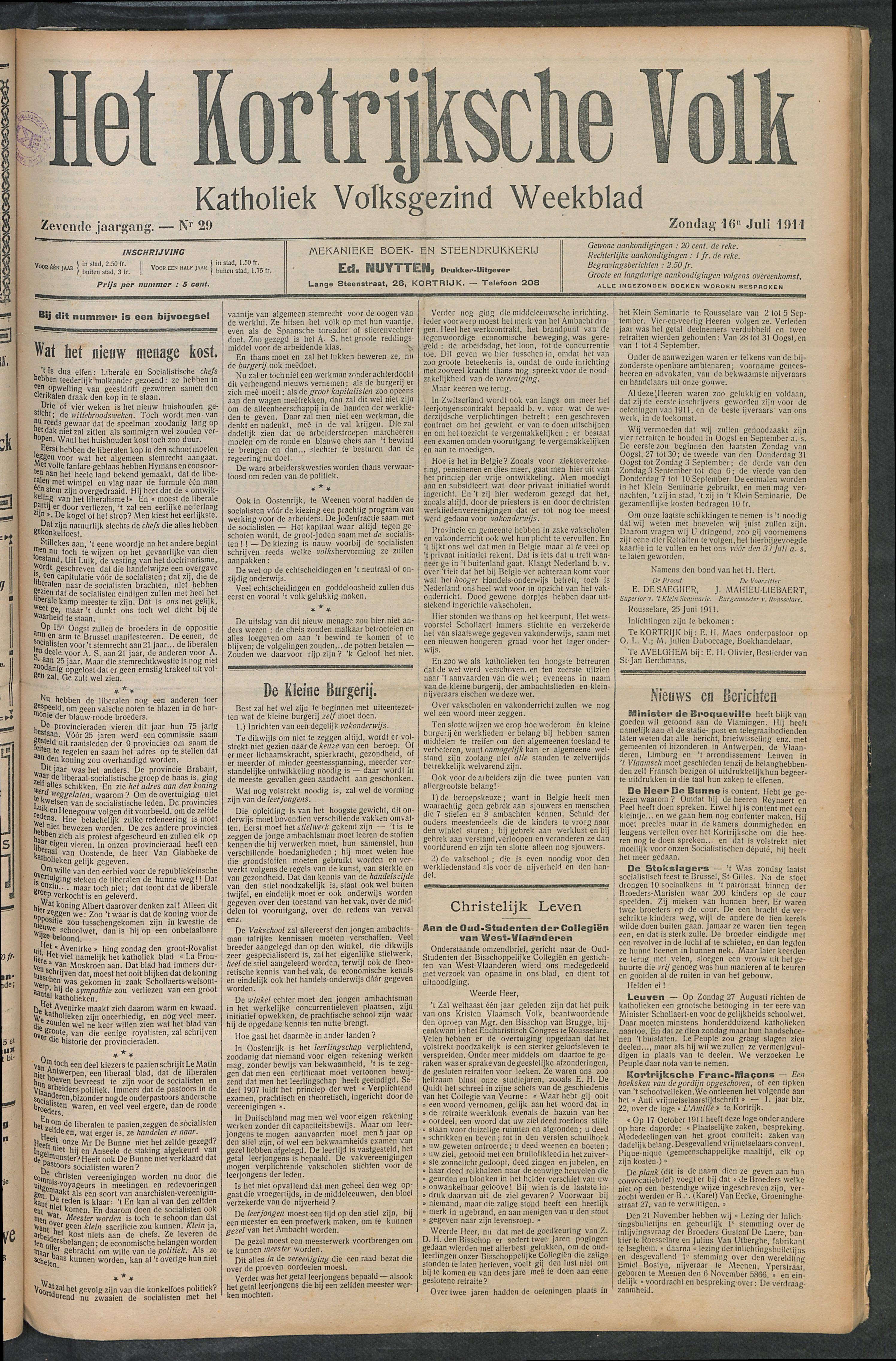 Het Kortrijksche Volk 1911-07-16 p1